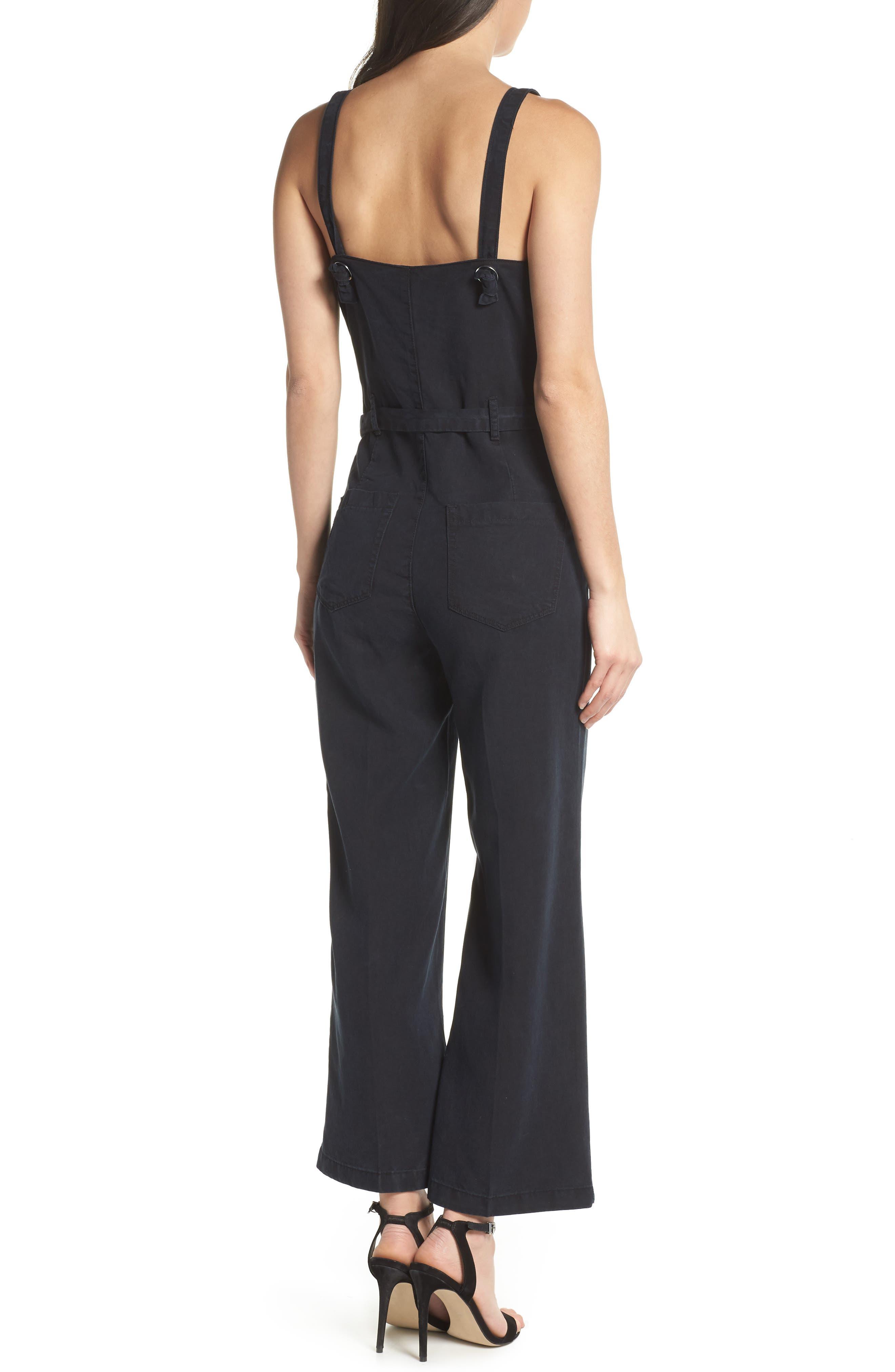 Emma Tie-Waist Jumpsuit,                             Alternate thumbnail 2, color,                             Black Pearl