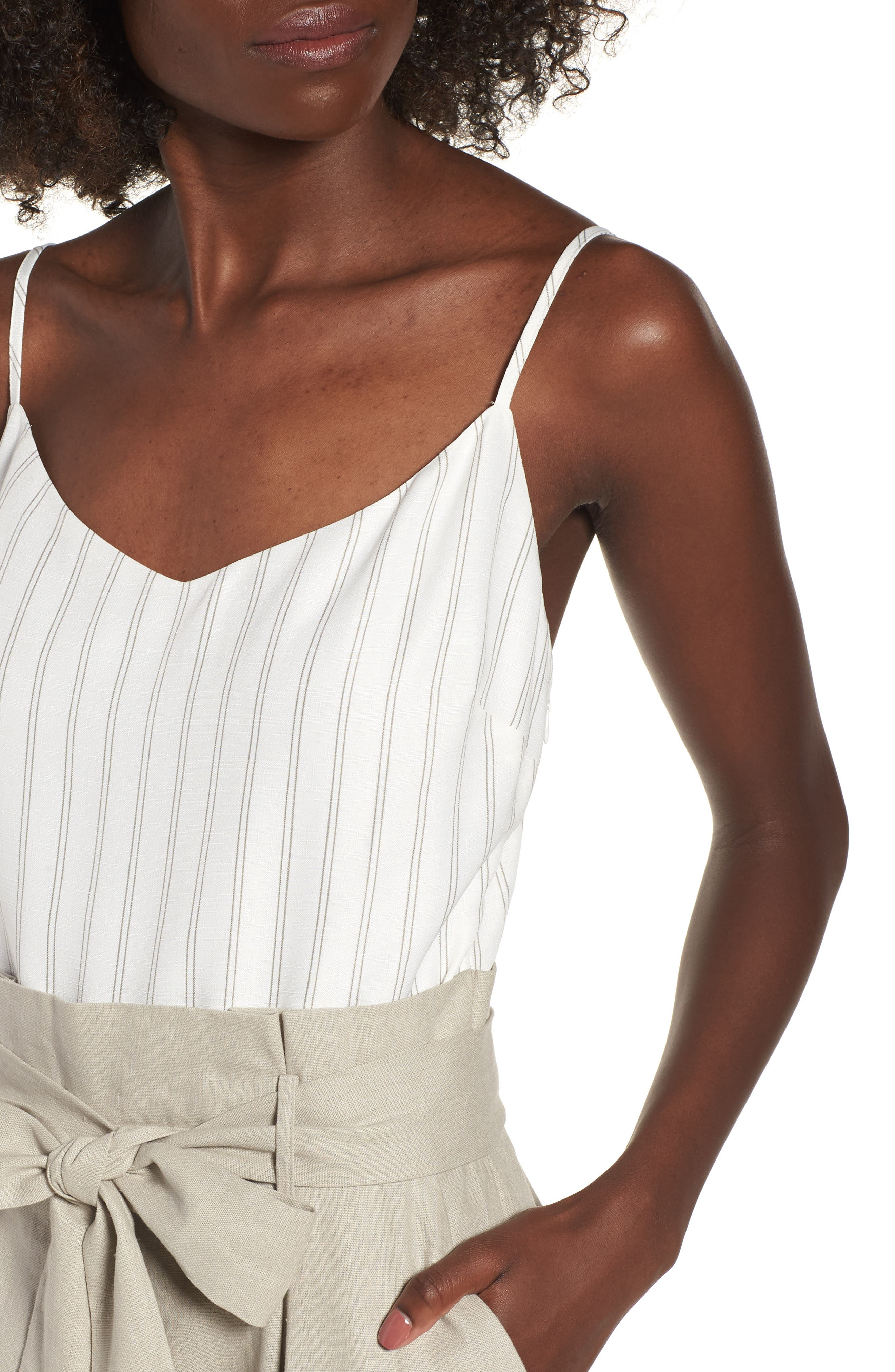Tie Waist Crop Jumpsuit,                             Alternate thumbnail 4, color,                             Beige Morn Stripe