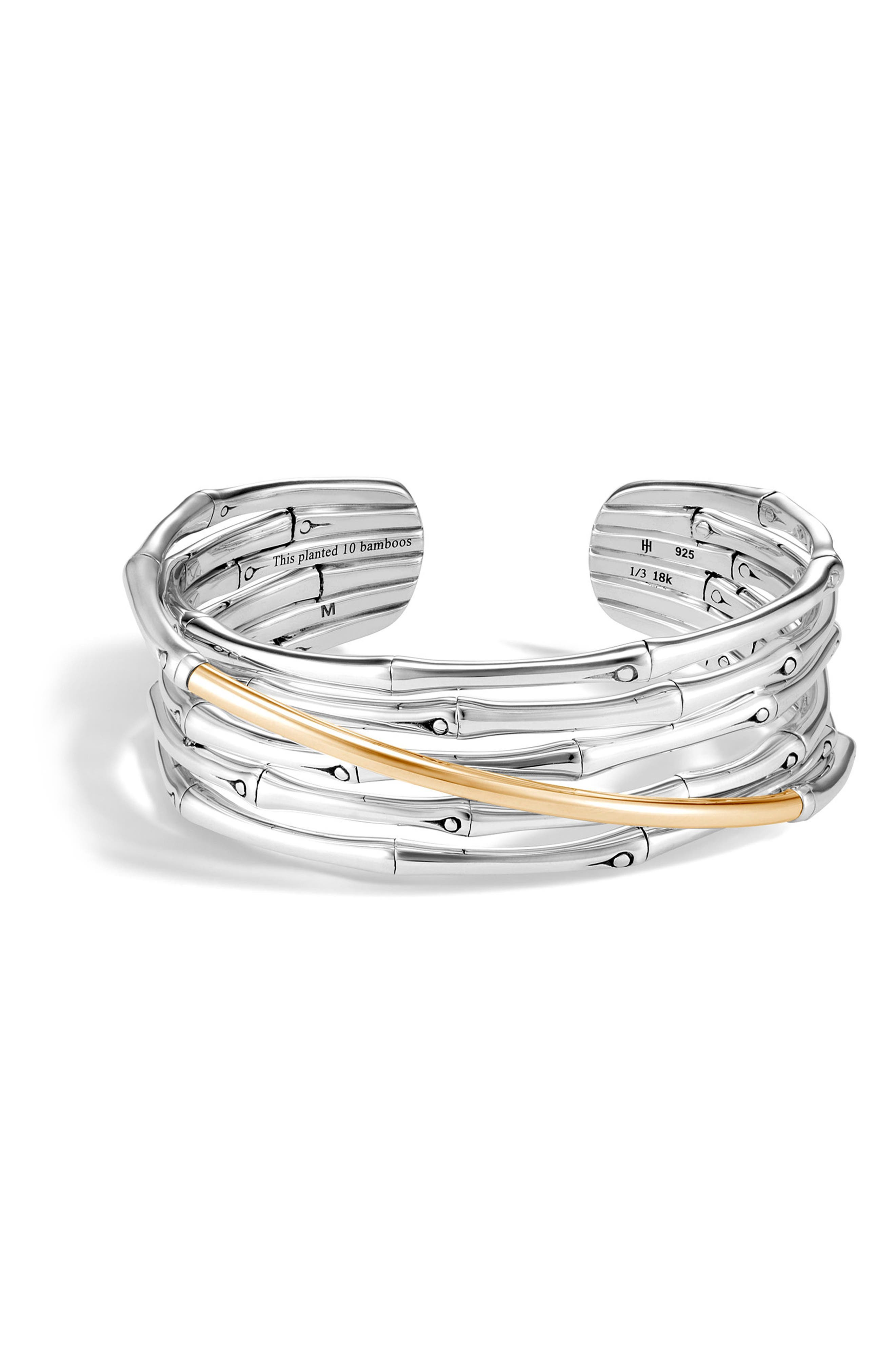 Bamboo 18K Gold & Silver Flex Cuff Bracelet,                             Main thumbnail 1, color,                             Silver/ Gold