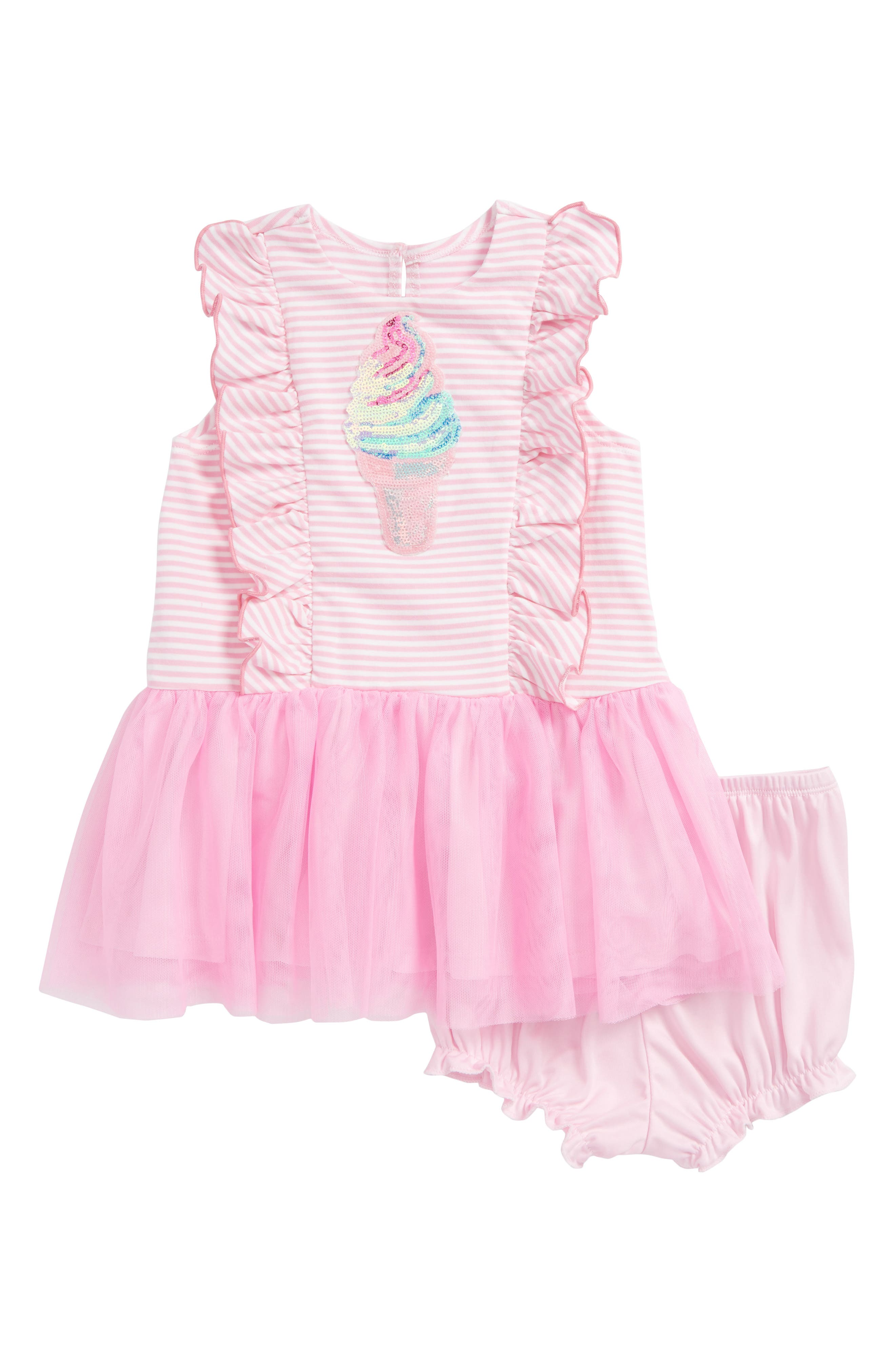 Ice Cream Cone Tutu Dress,                         Main,                         color, Pink/ White