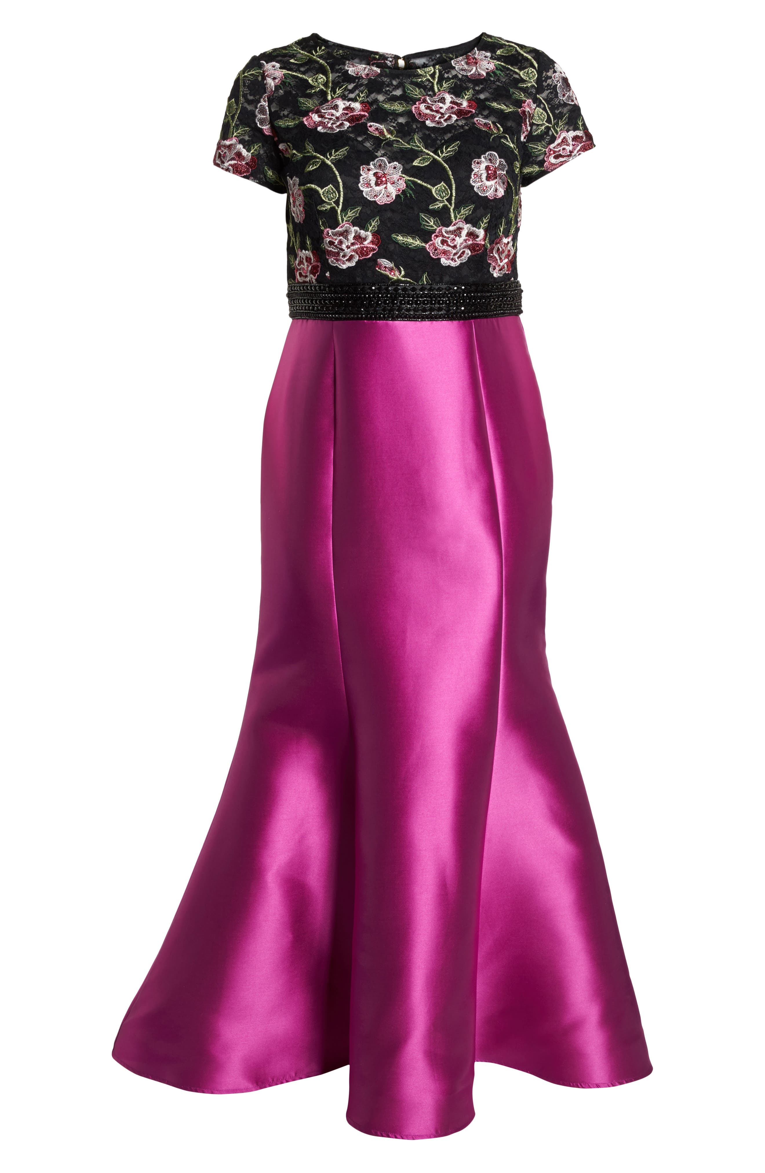 Embroidered Mermaid Gown,                             Alternate thumbnail 6, color,                             Magenta