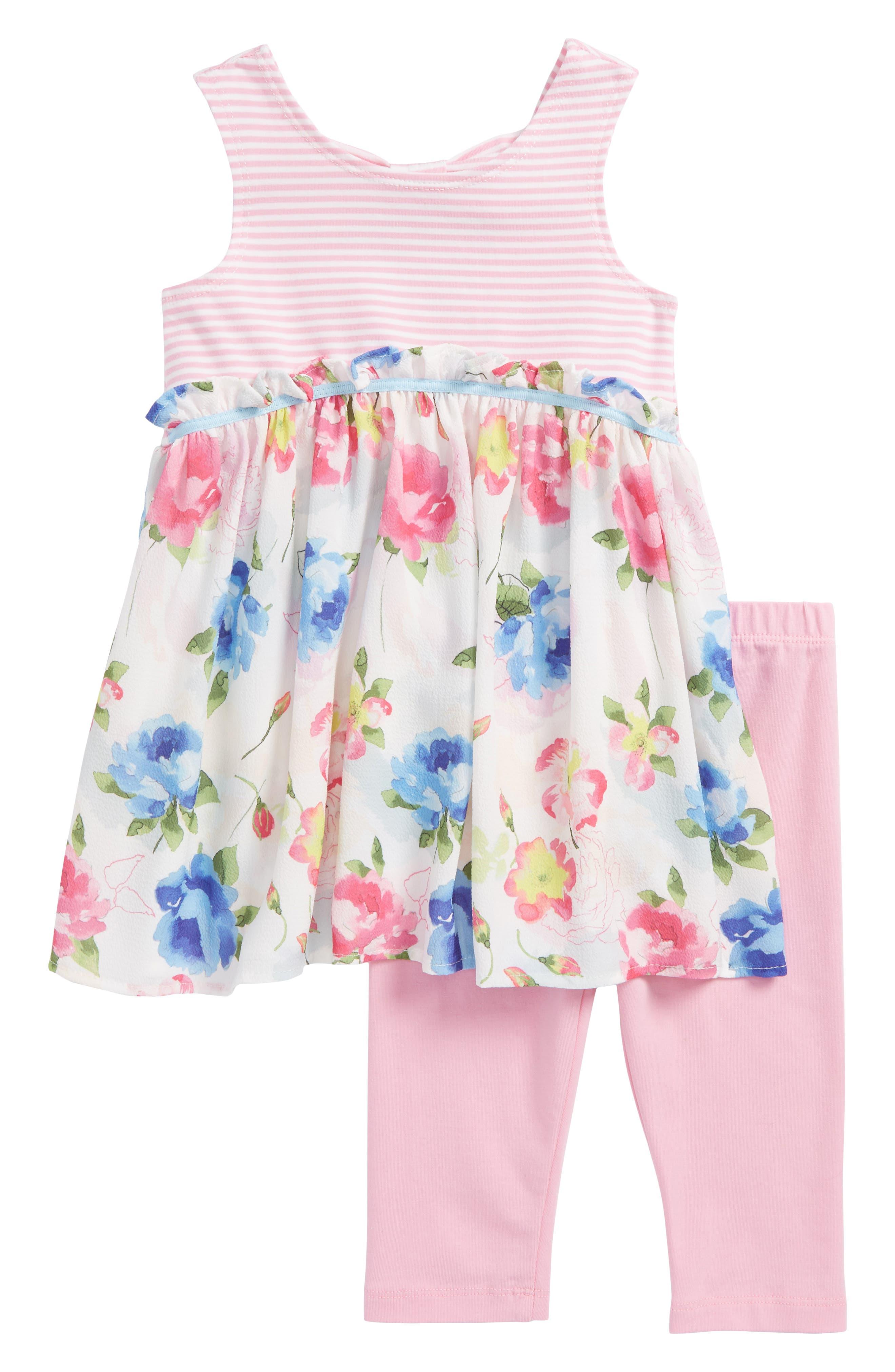 Tunic & Leggings Set,                         Main,                         color, Pink/ White