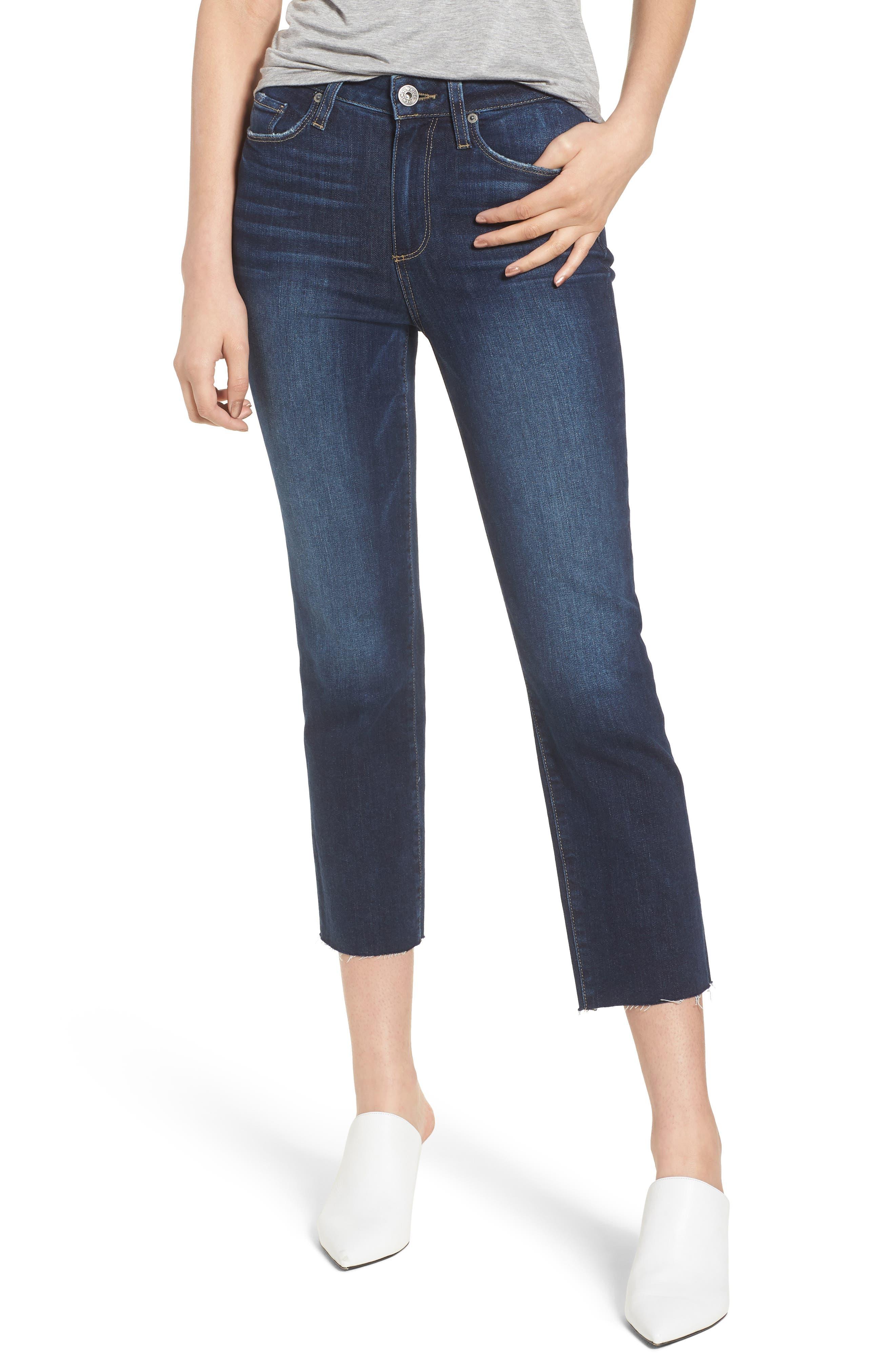 Hoxton High Waist Crop Straight Leg Jeans,                         Main,                         color, Mazzetti