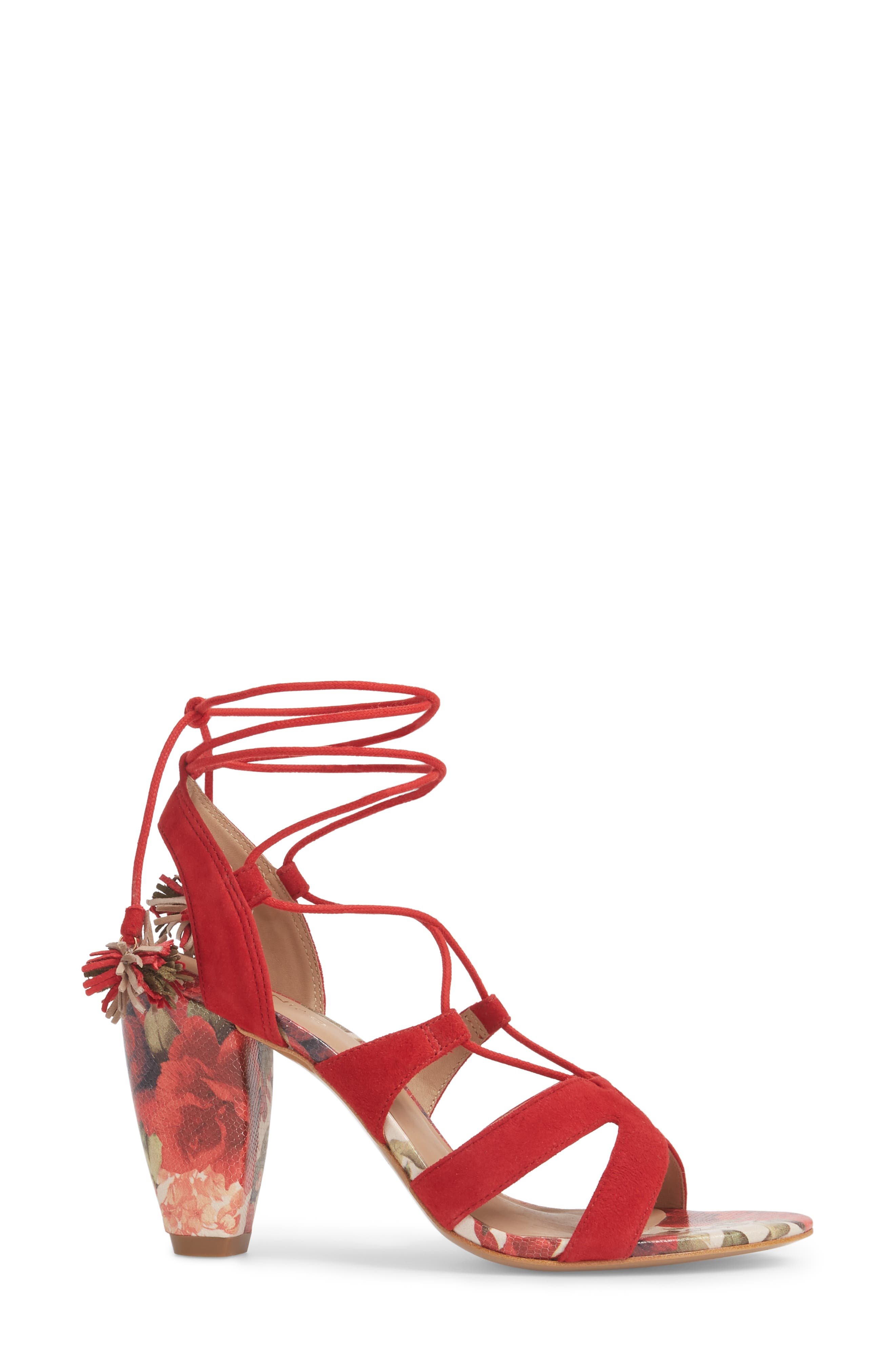 Maxine Sandal,                             Alternate thumbnail 3, color,                             Red Suede