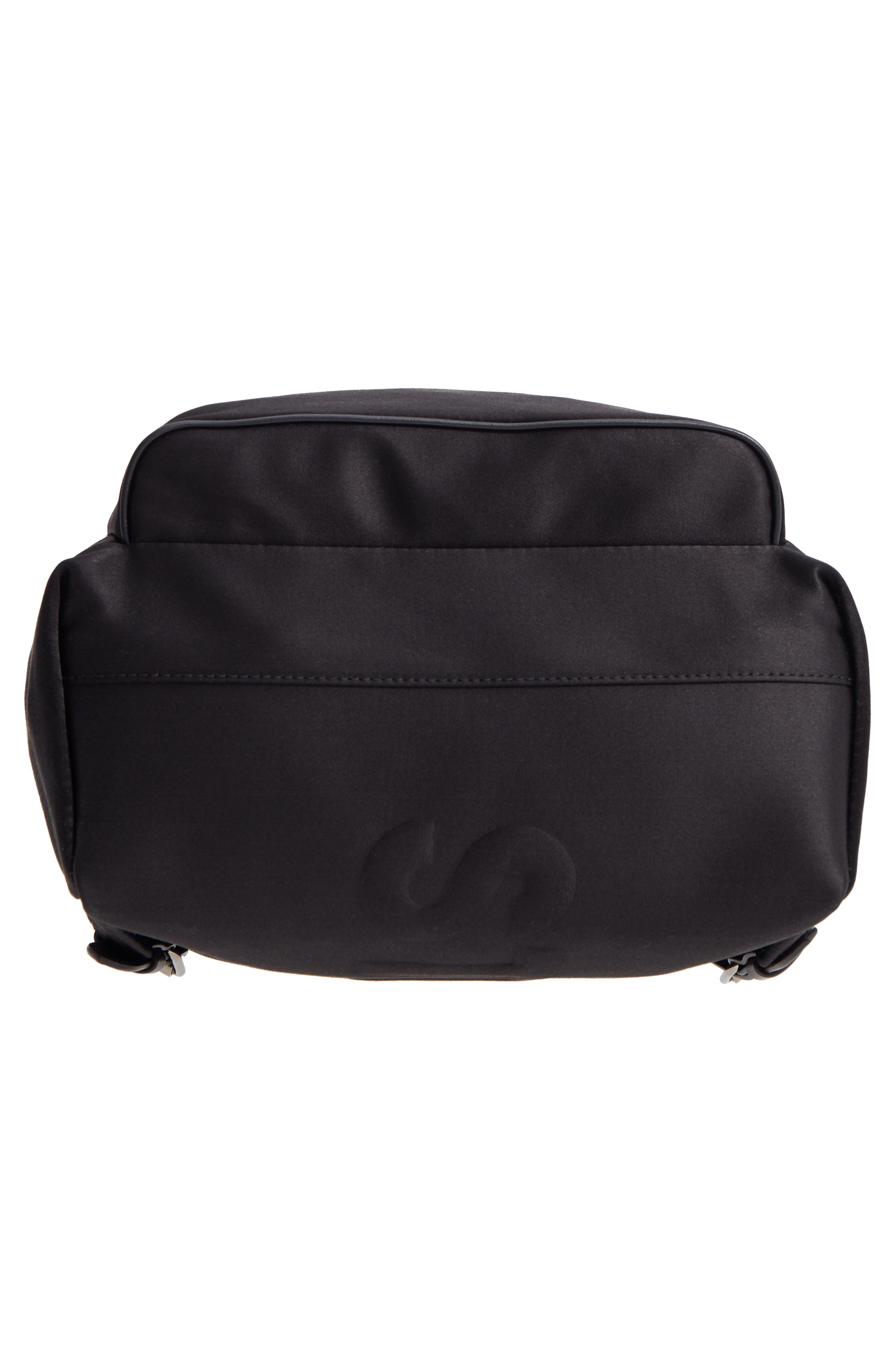 Logo Embossed Satin Backpack,                             Alternate thumbnail 6, color,                             Black