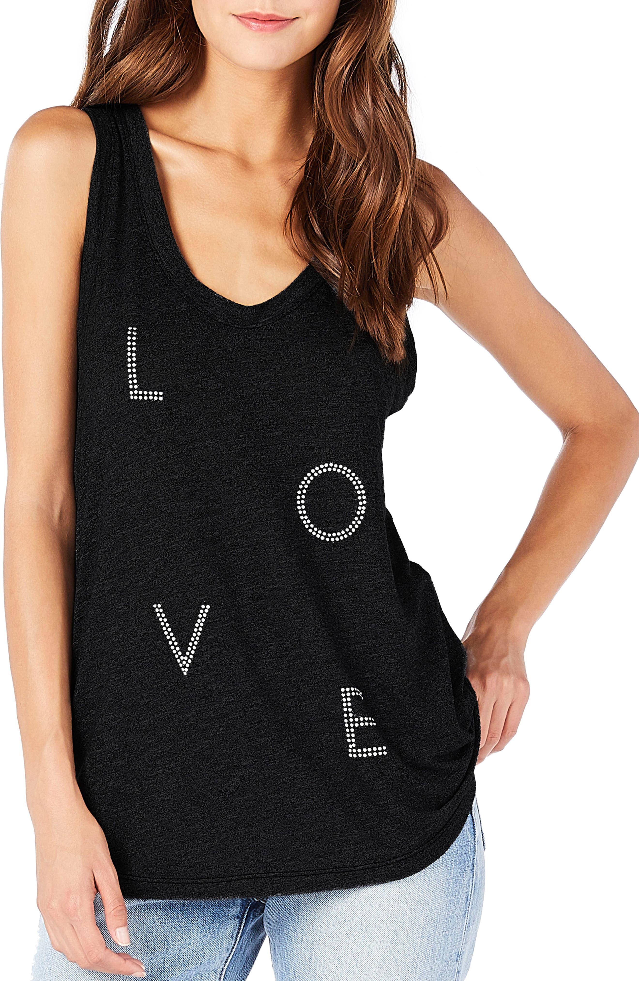 Love Tank Top,                         Main,                         color, Black