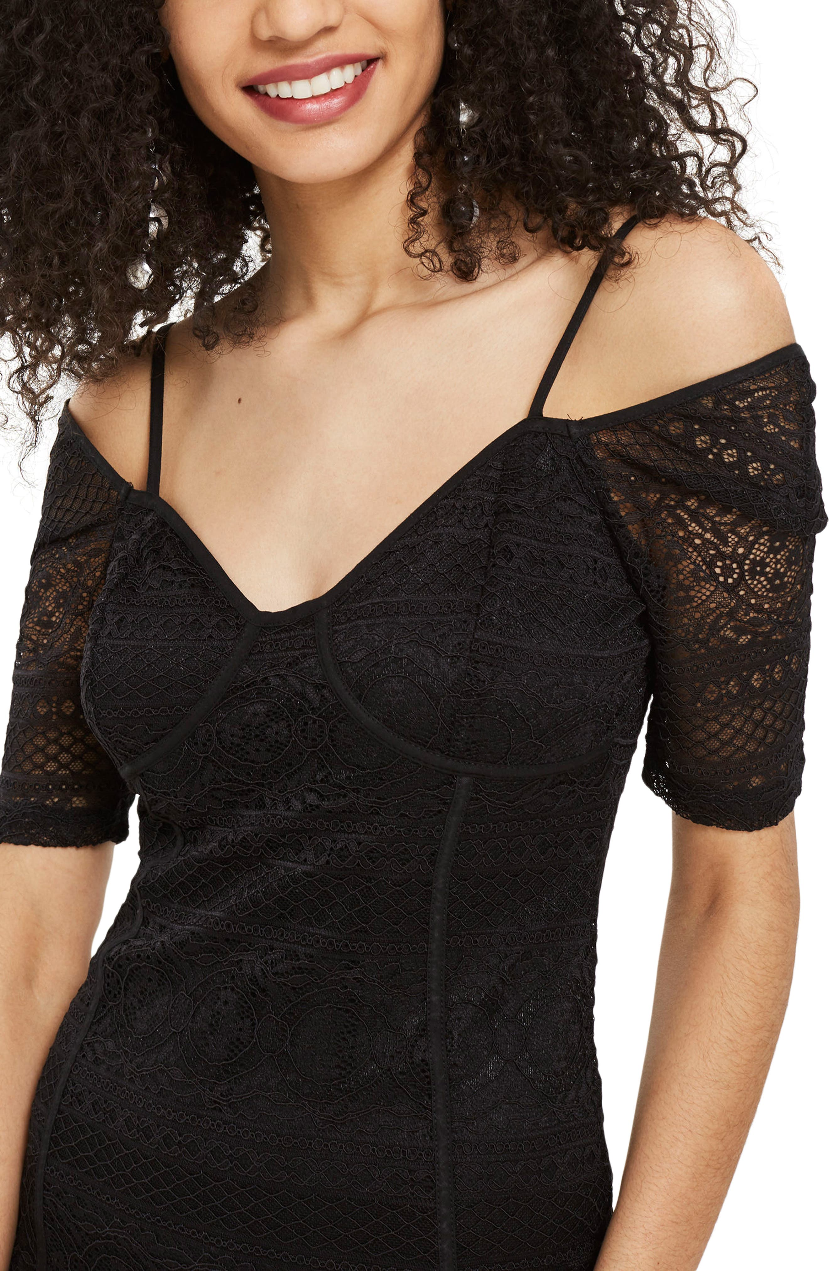 Sweetheart Neck Lace Body-Con Minidress,                             Alternate thumbnail 3, color,                             Black