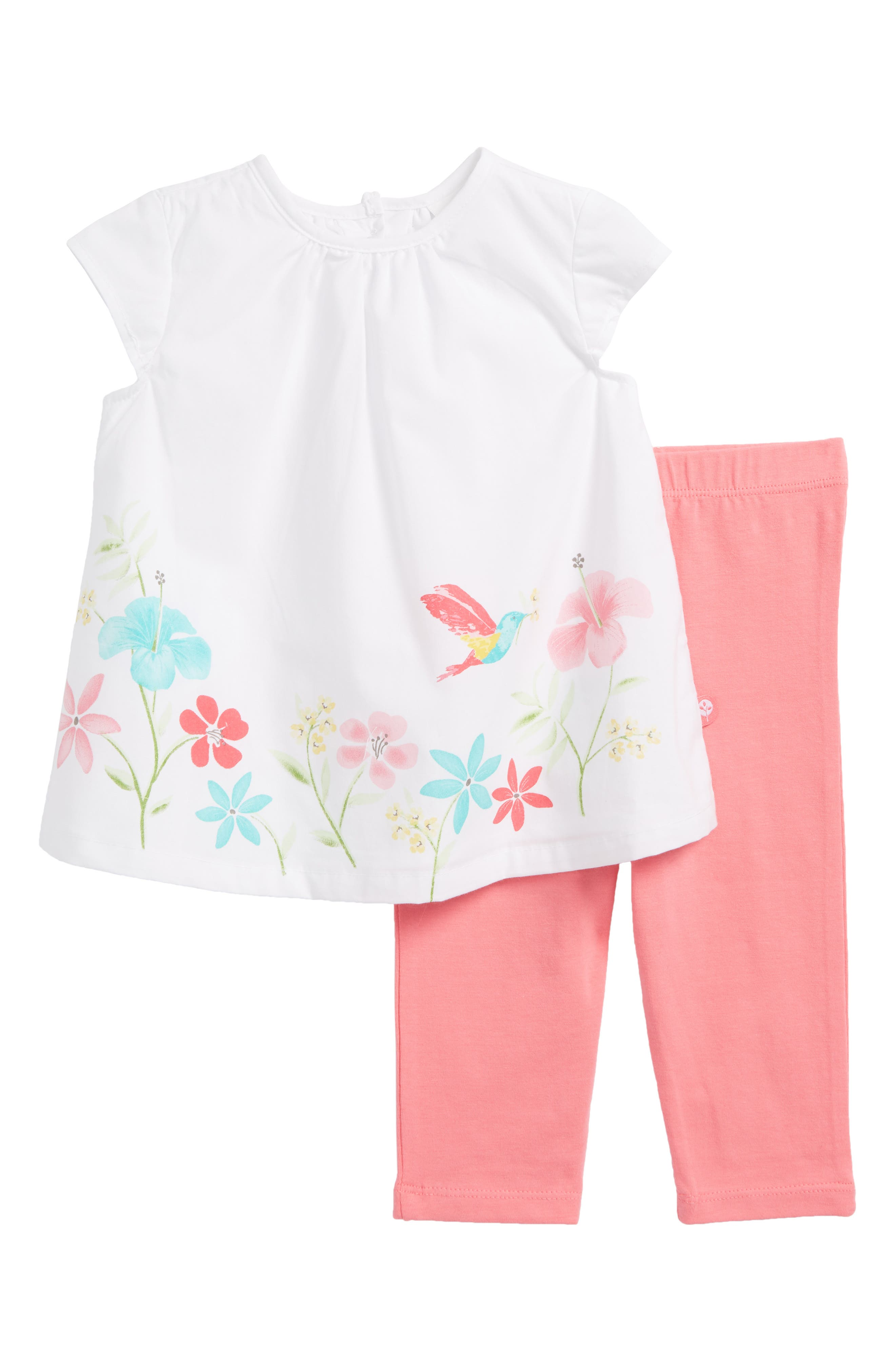 Floral Tunic & Leggings Set,                             Main thumbnail 1, color,                             Pink