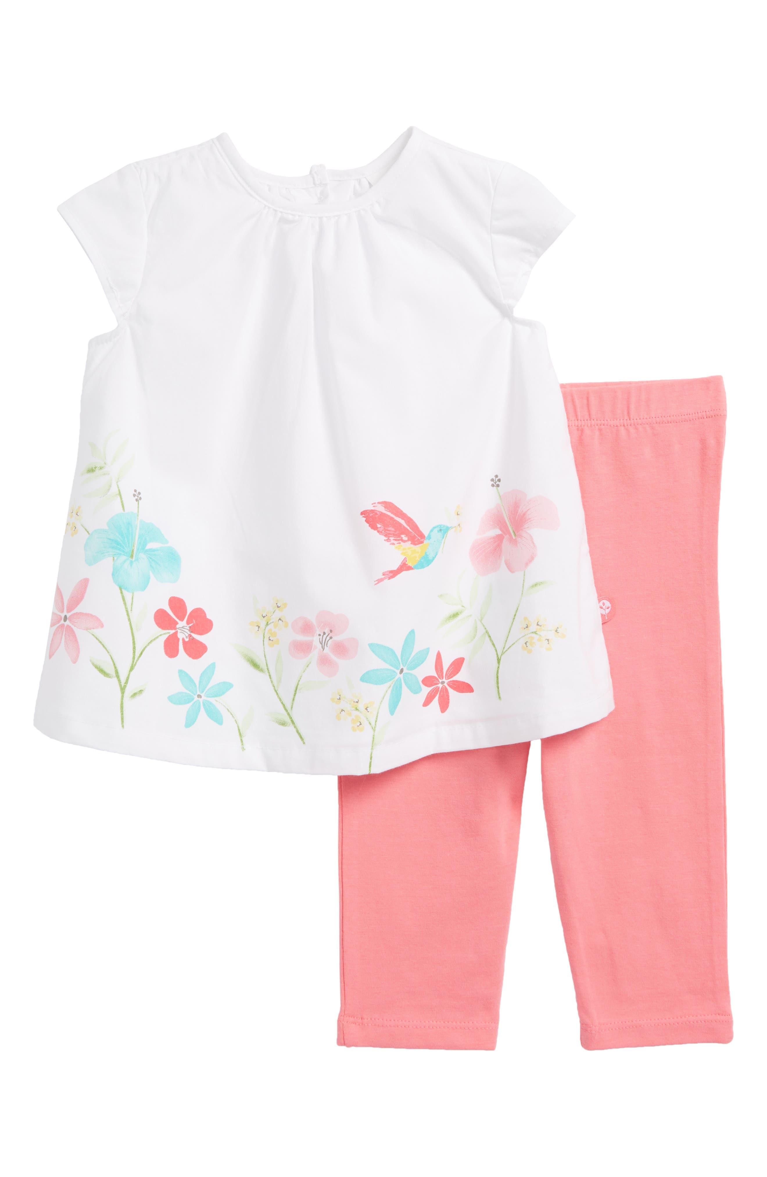 Floral Tunic & Leggings Set,                         Main,                         color, Pink