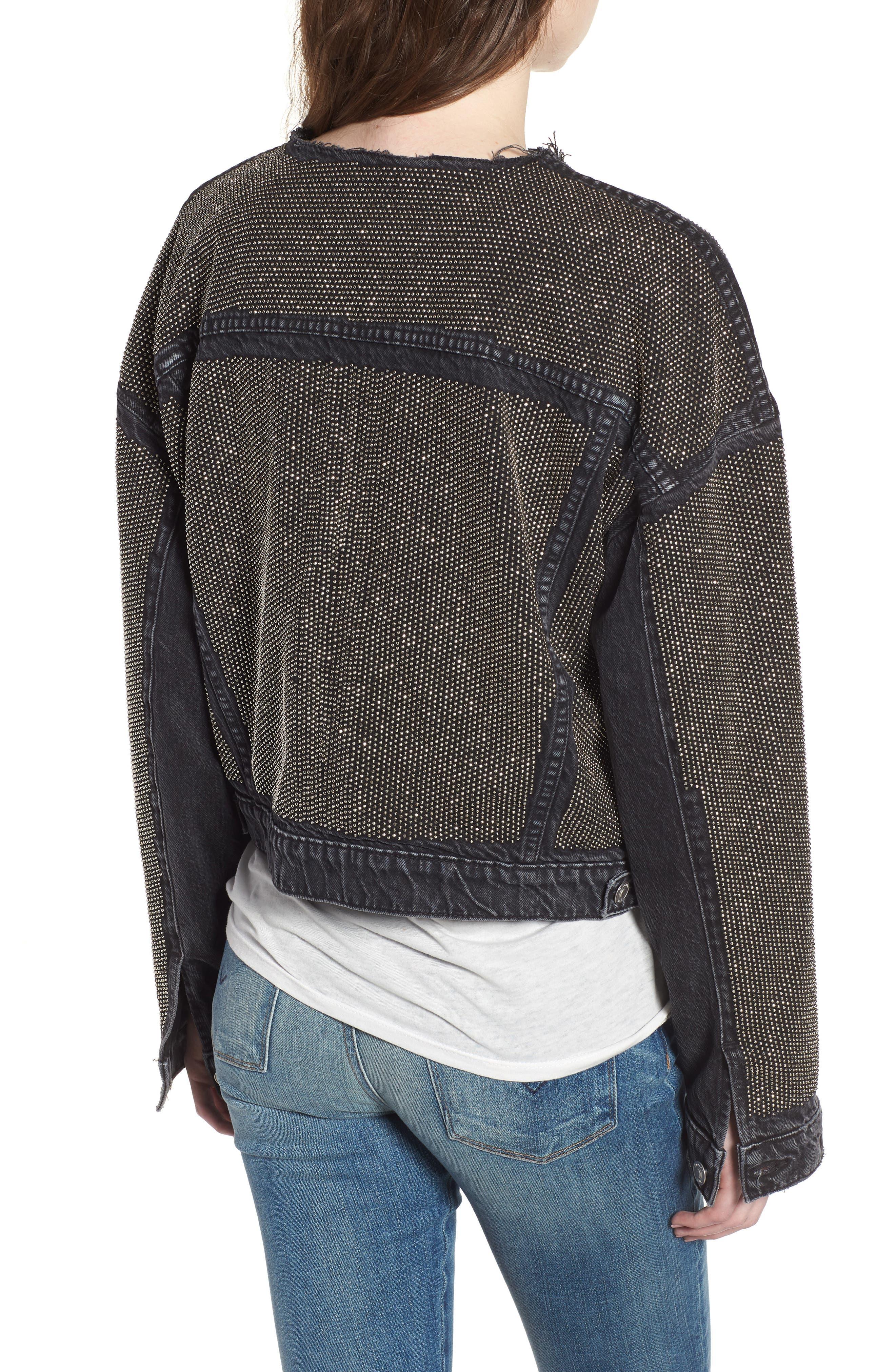 Rei Studded Crop Denim Jacket,                             Alternate thumbnail 2, color,                             Bullet Proof