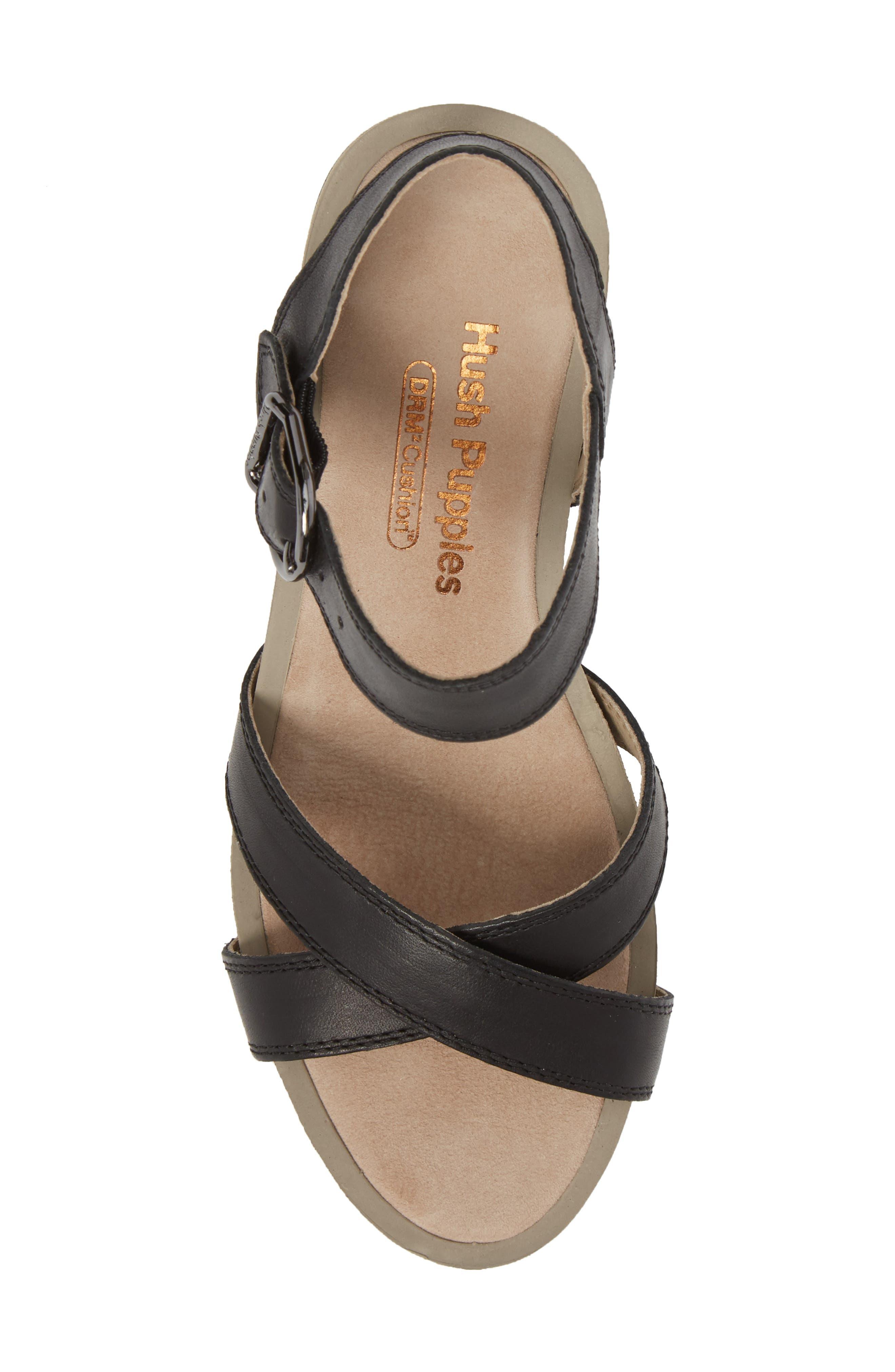 Mariska Block Heel Sandal,                             Alternate thumbnail 5, color,                             Black Leather