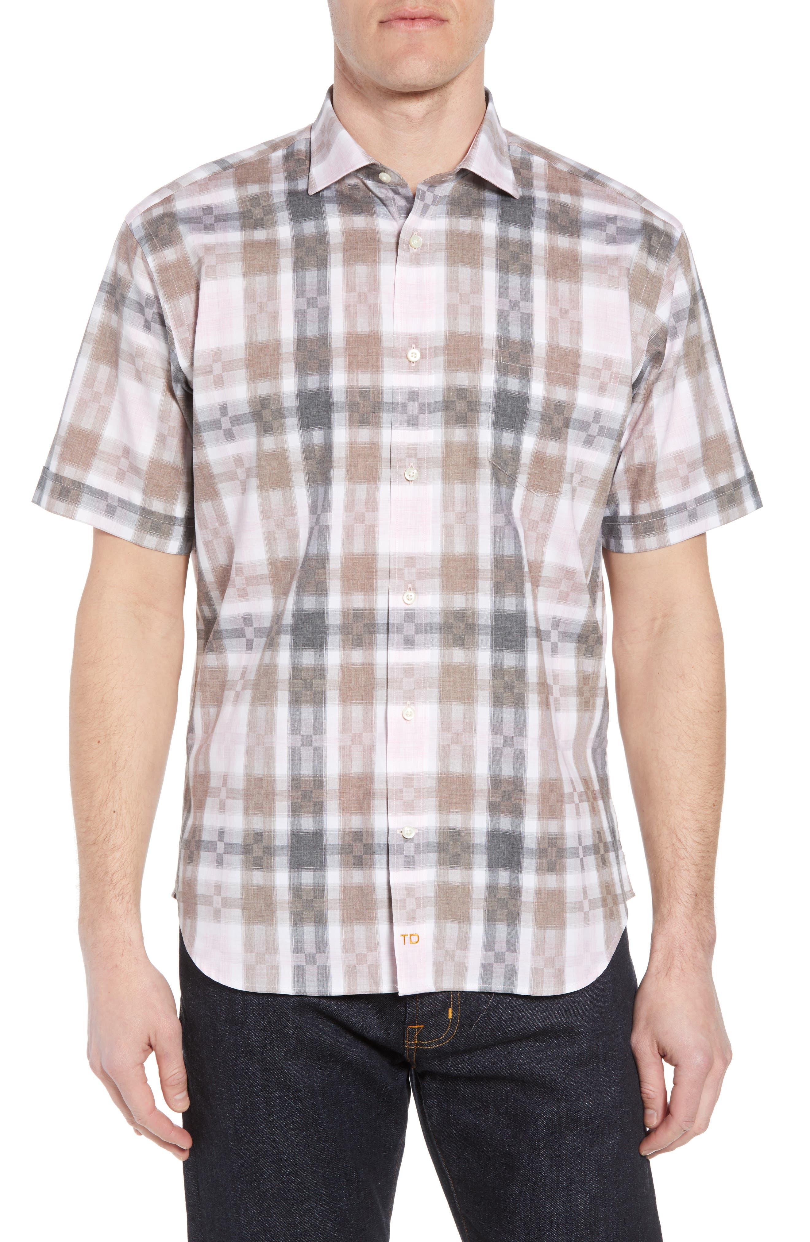 Regular Fit Check Sport Shirt,                         Main,                         color, Pink