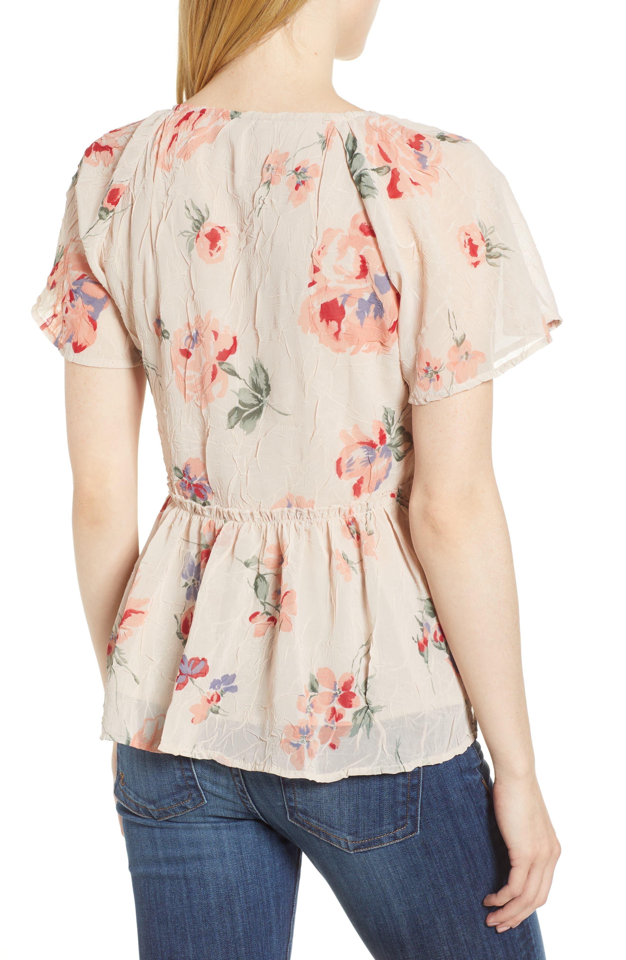 Floral Flutter Top,                             Alternate thumbnail 2, color,                             Pink Multi