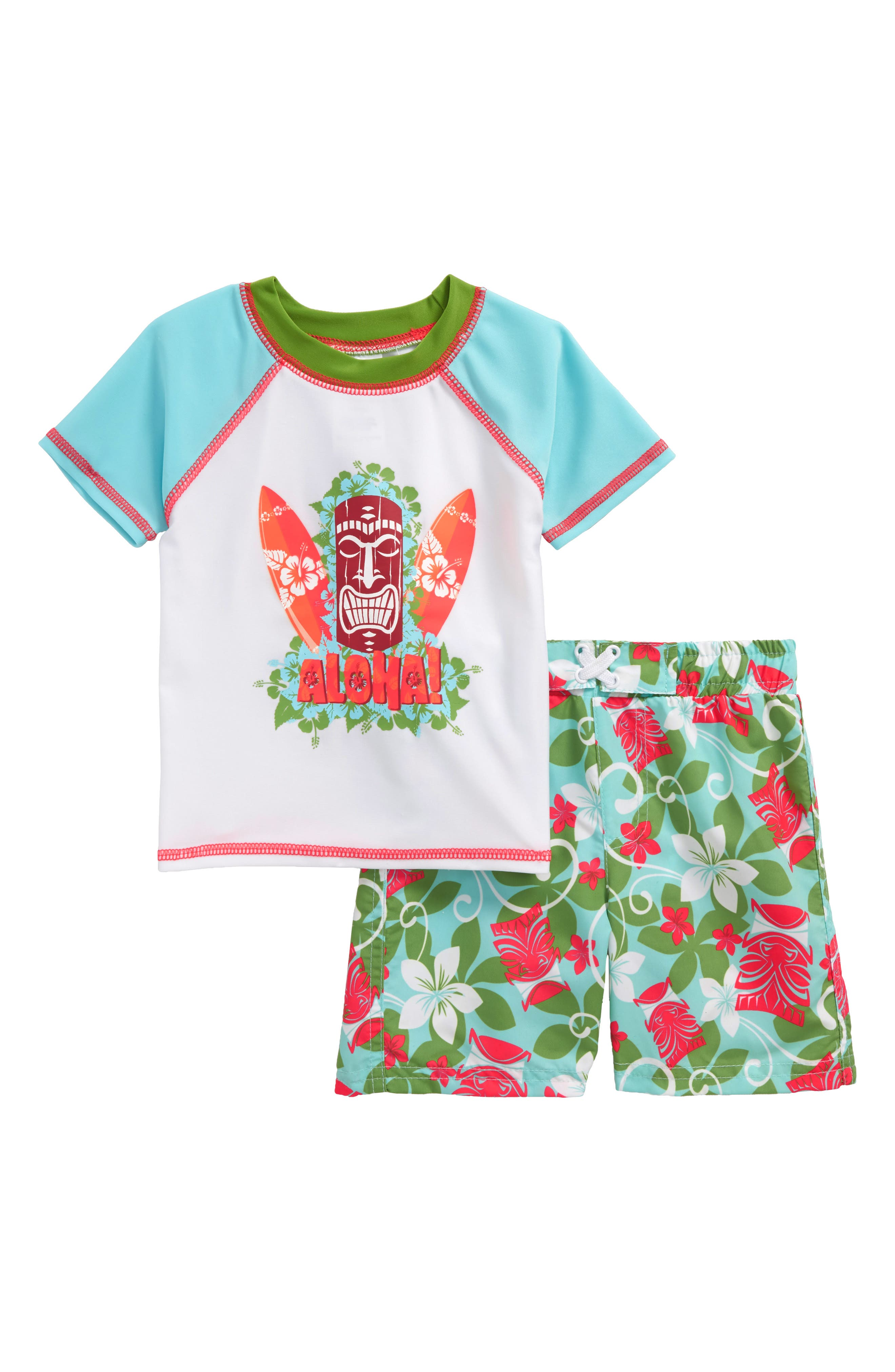 Aloha Tiki Two-Piece Rashguard Swimsuit,                             Main thumbnail 1, color,                             Blue/ Green