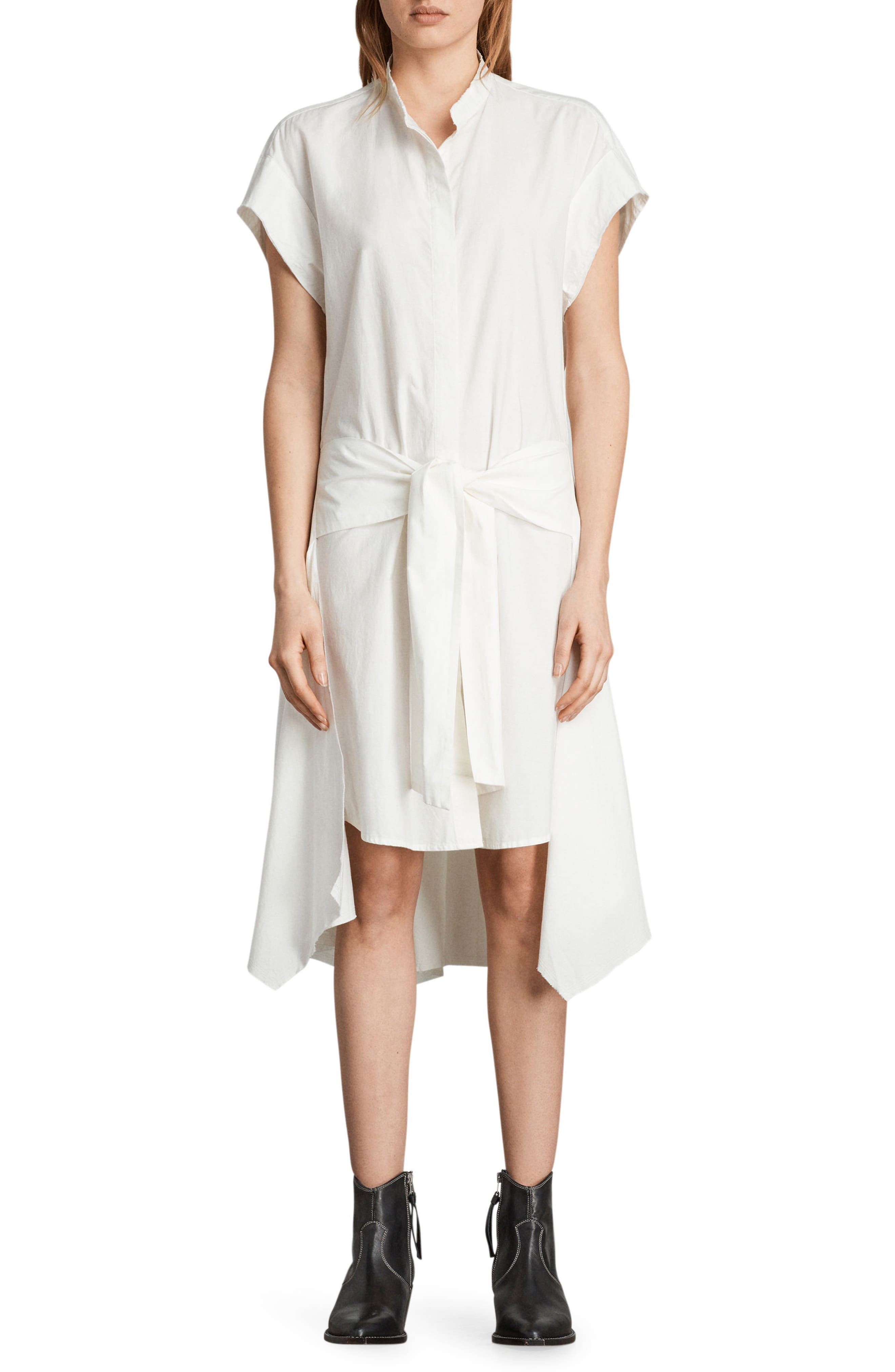 Georgia Tie Waist Shirtdress,                             Main thumbnail 1, color,                             Chalk White