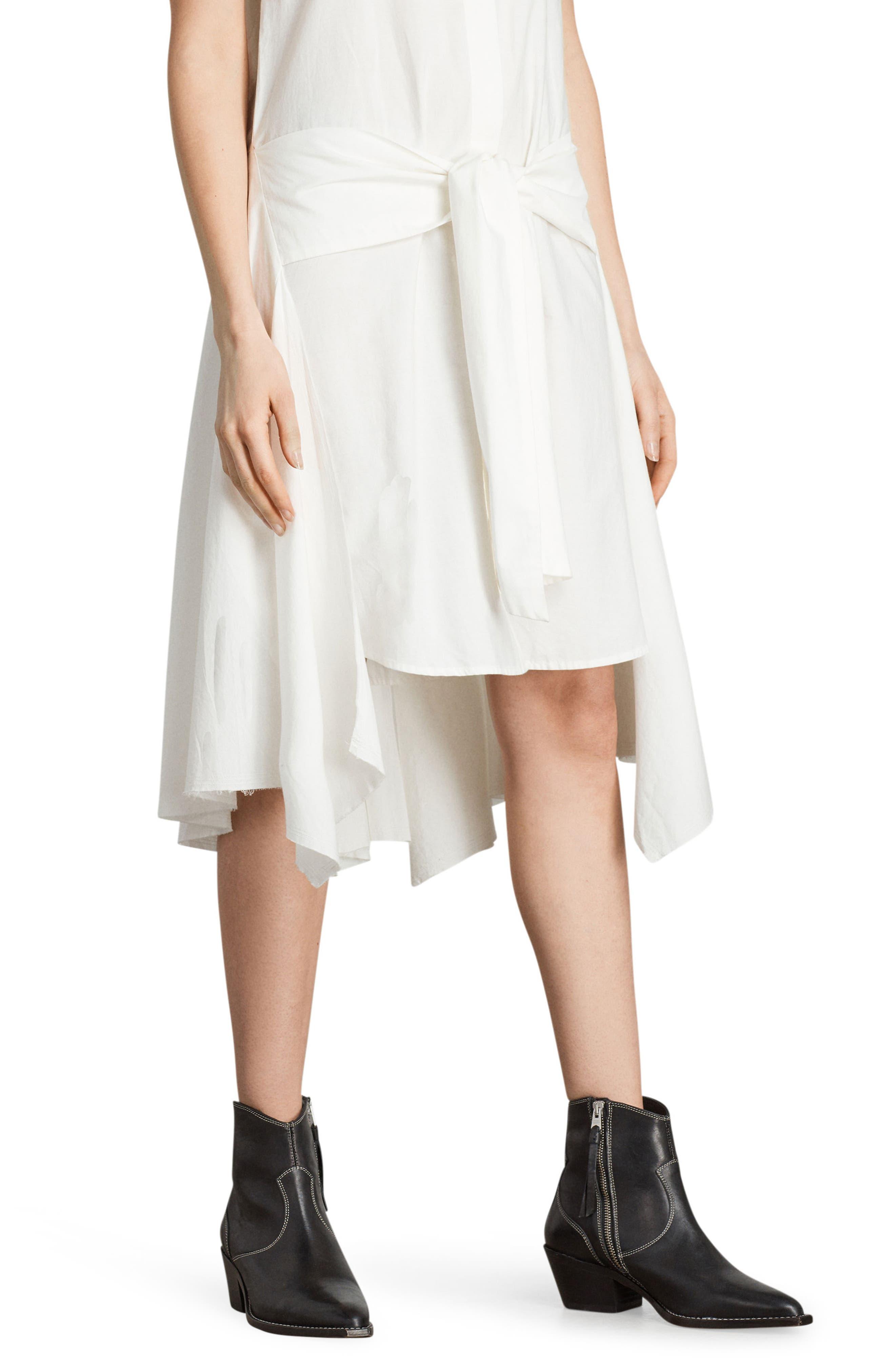 Georgia Tie Waist Shirtdress,                             Alternate thumbnail 4, color,                             Chalk White