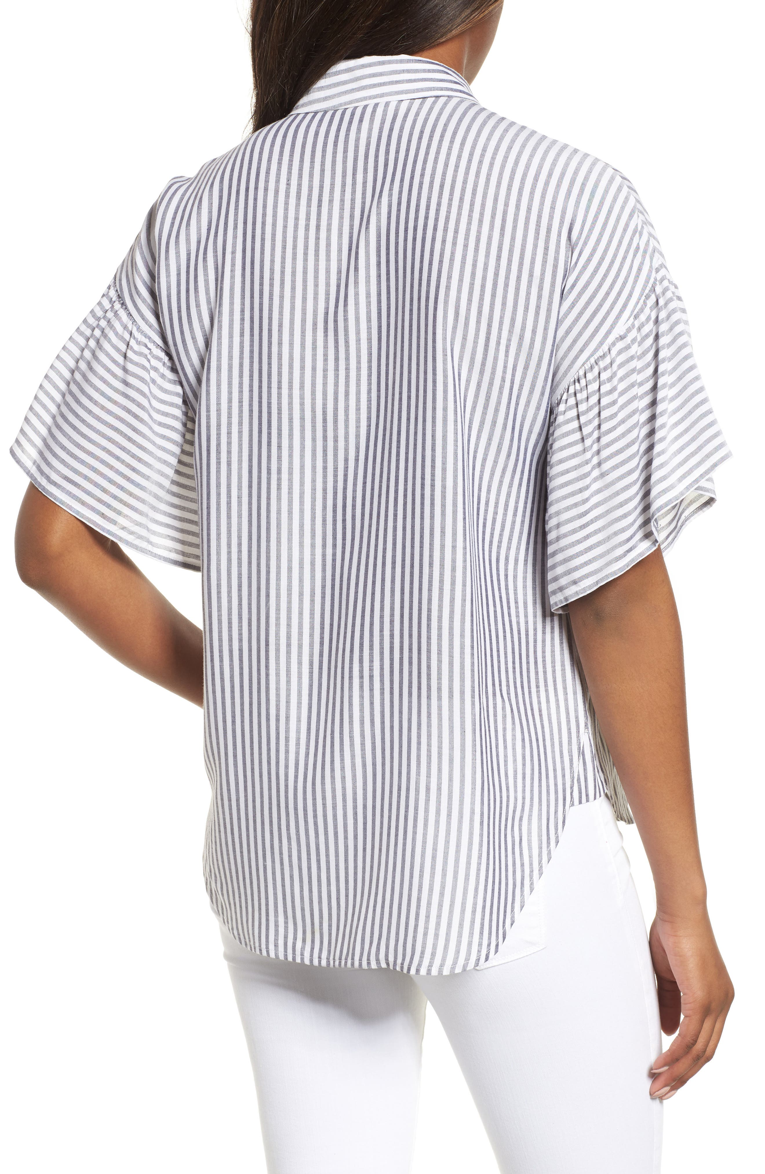 Drop Shoulder Flutter Sleeve Stripe Shirt,                             Alternate thumbnail 2, color,                             Blue Night