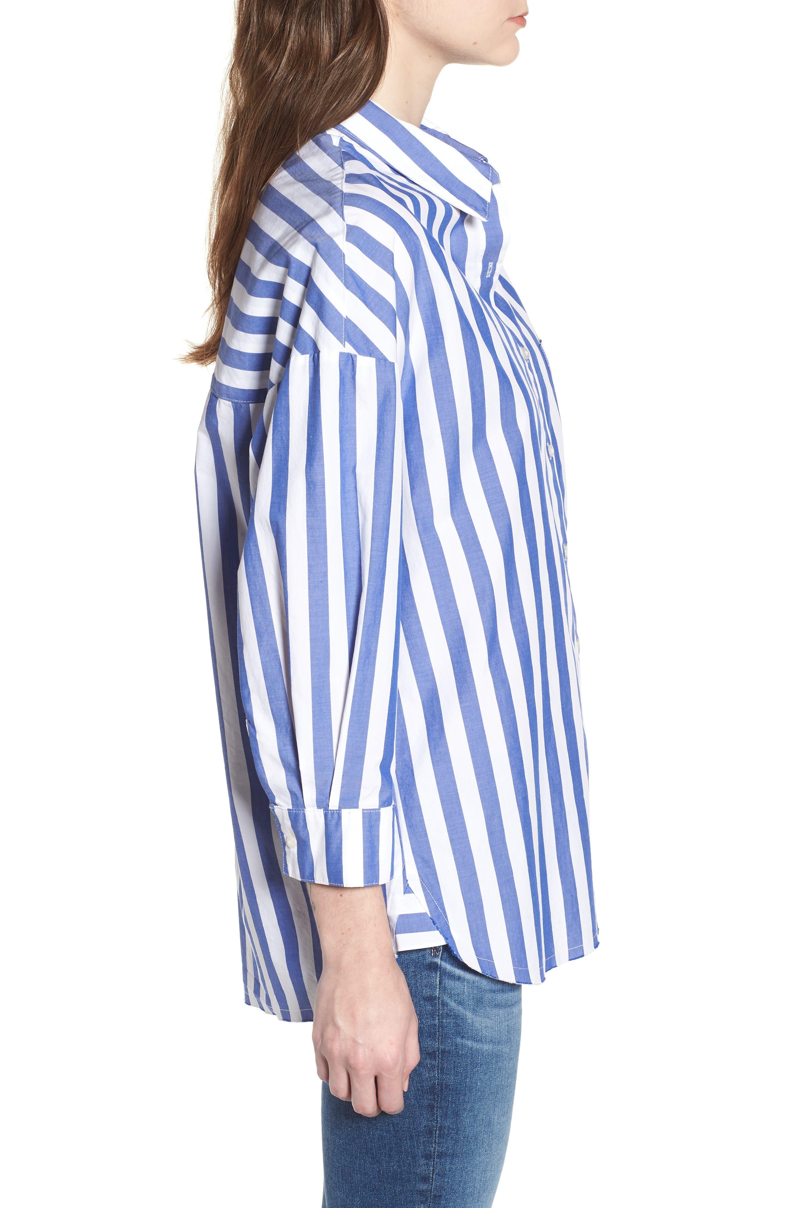 Stripe Oversize Shirt,                             Alternate thumbnail 3, color,                             Blue Stripe