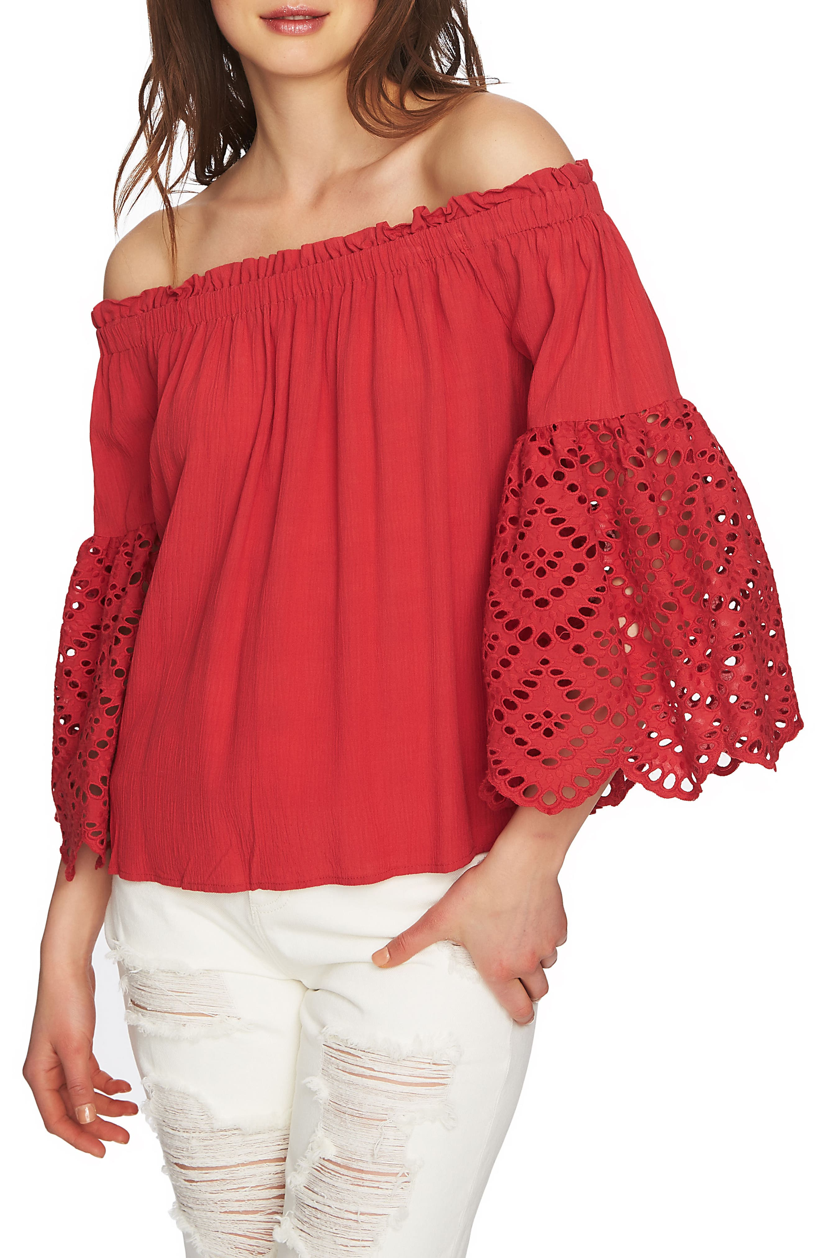 1.STATE Off the Shoulder Eyelet Sleeves Blouse