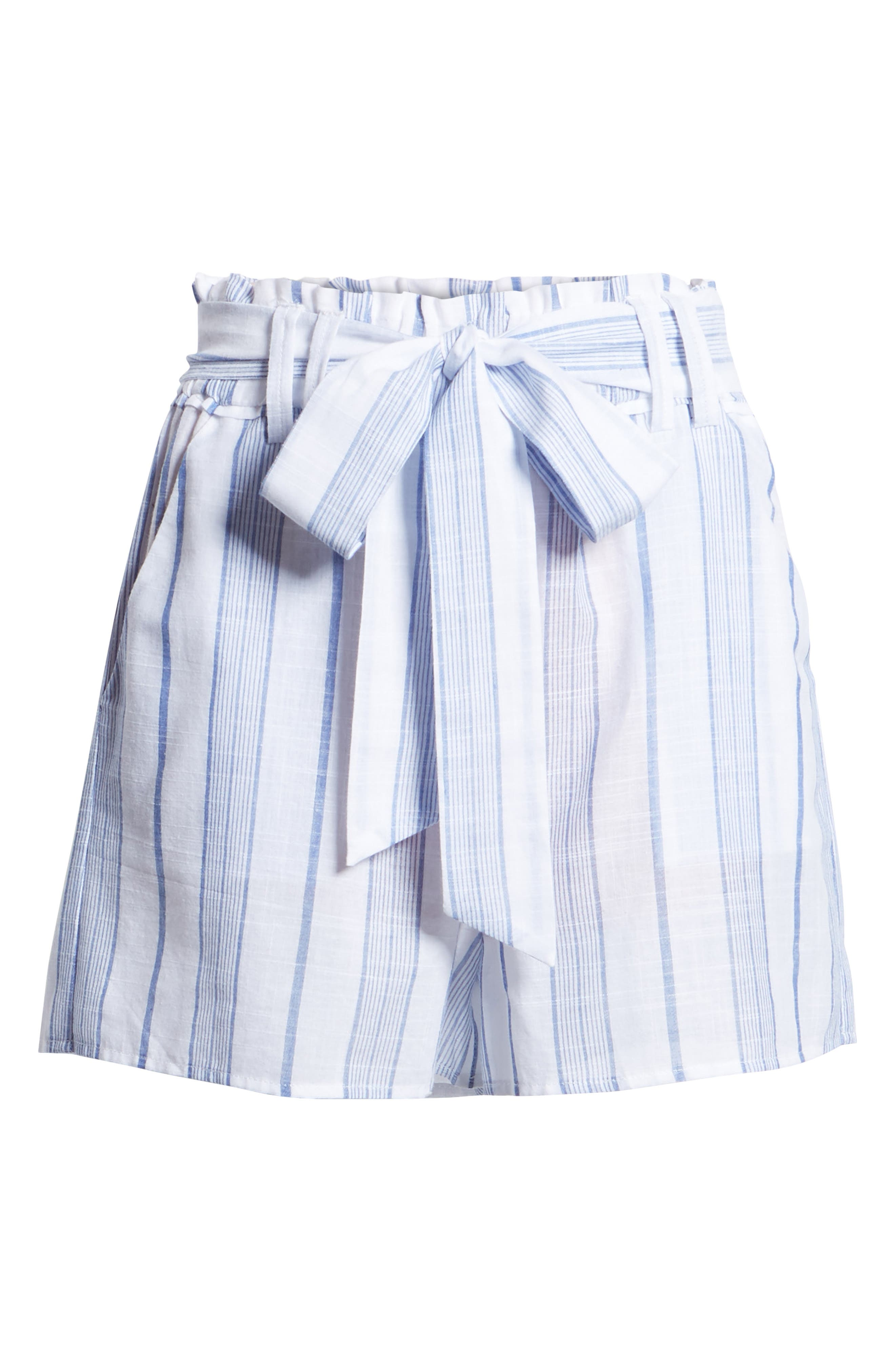 Stripe Tie Waist Shorts,                             Alternate thumbnail 7, color,                             Sky Stripe