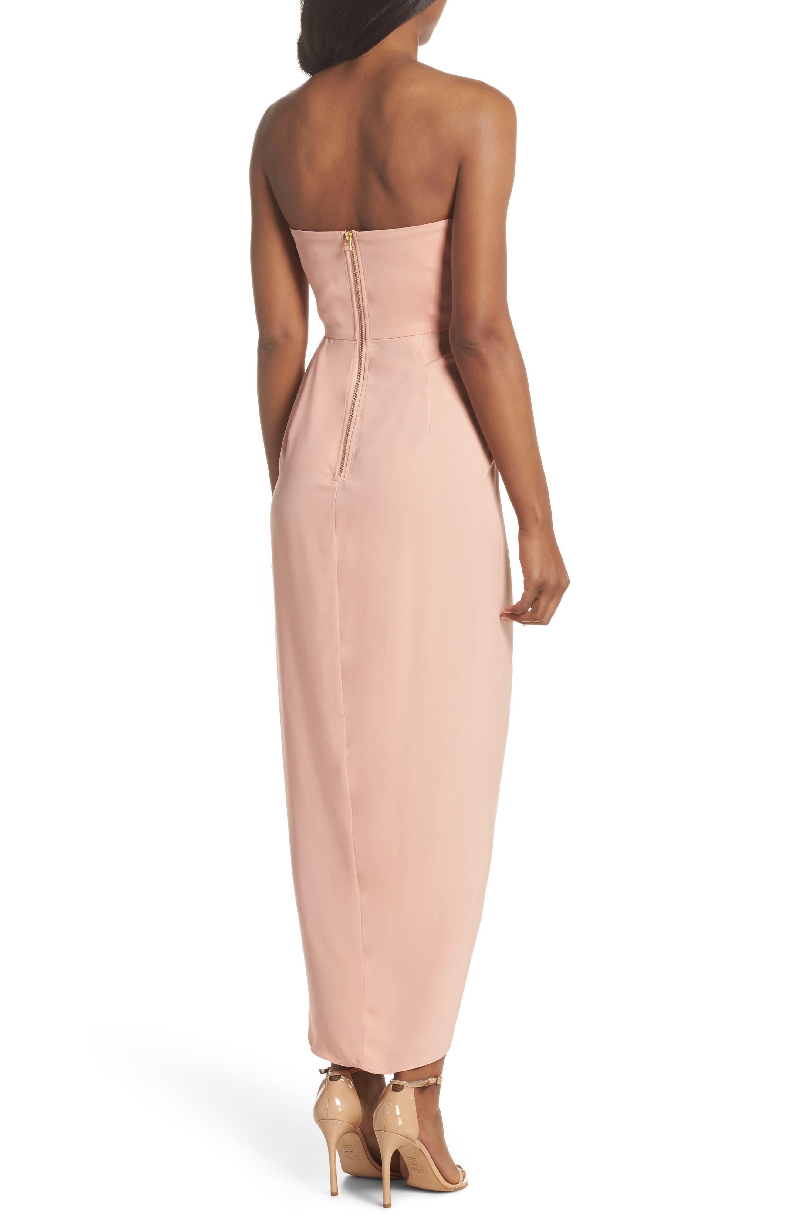Underwire Bustier Tulip Hem Dress,                             Alternate thumbnail 2, color,                             Dusty Pink