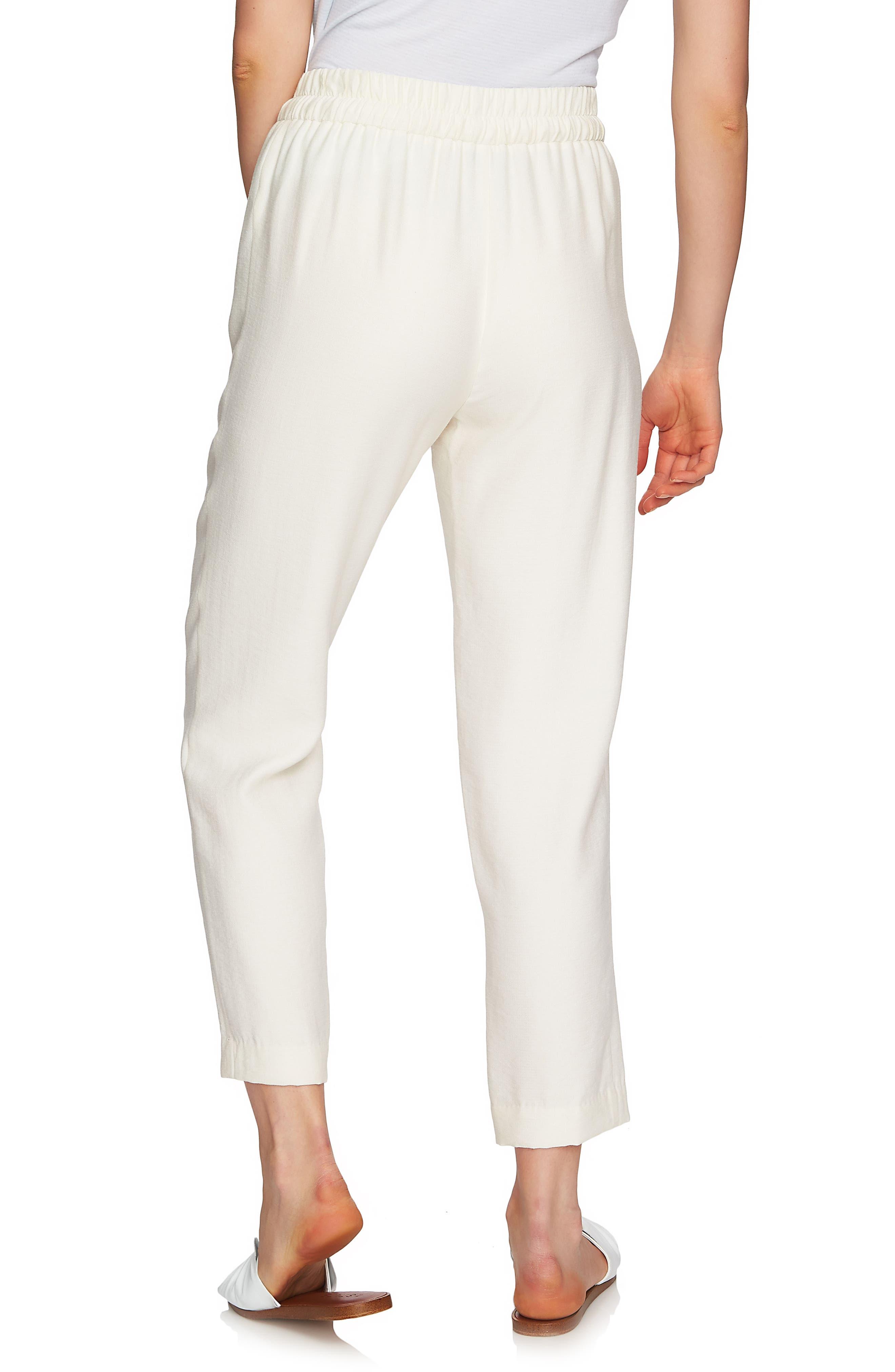 Flat Front Tapered Leg Pants,                             Alternate thumbnail 3, color,                             Antique White