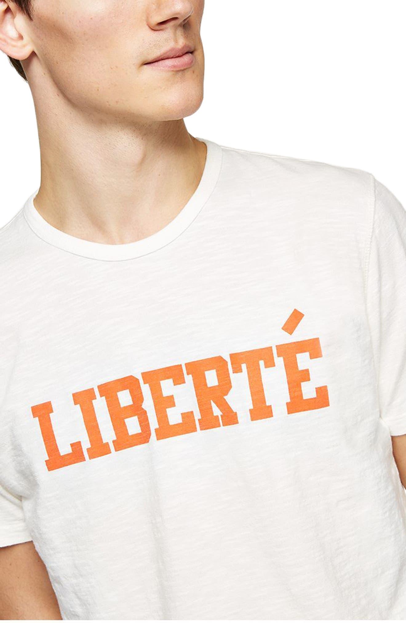Liberté Graphic T-Shirt,                             Alternate thumbnail 3, color,                             White Multi