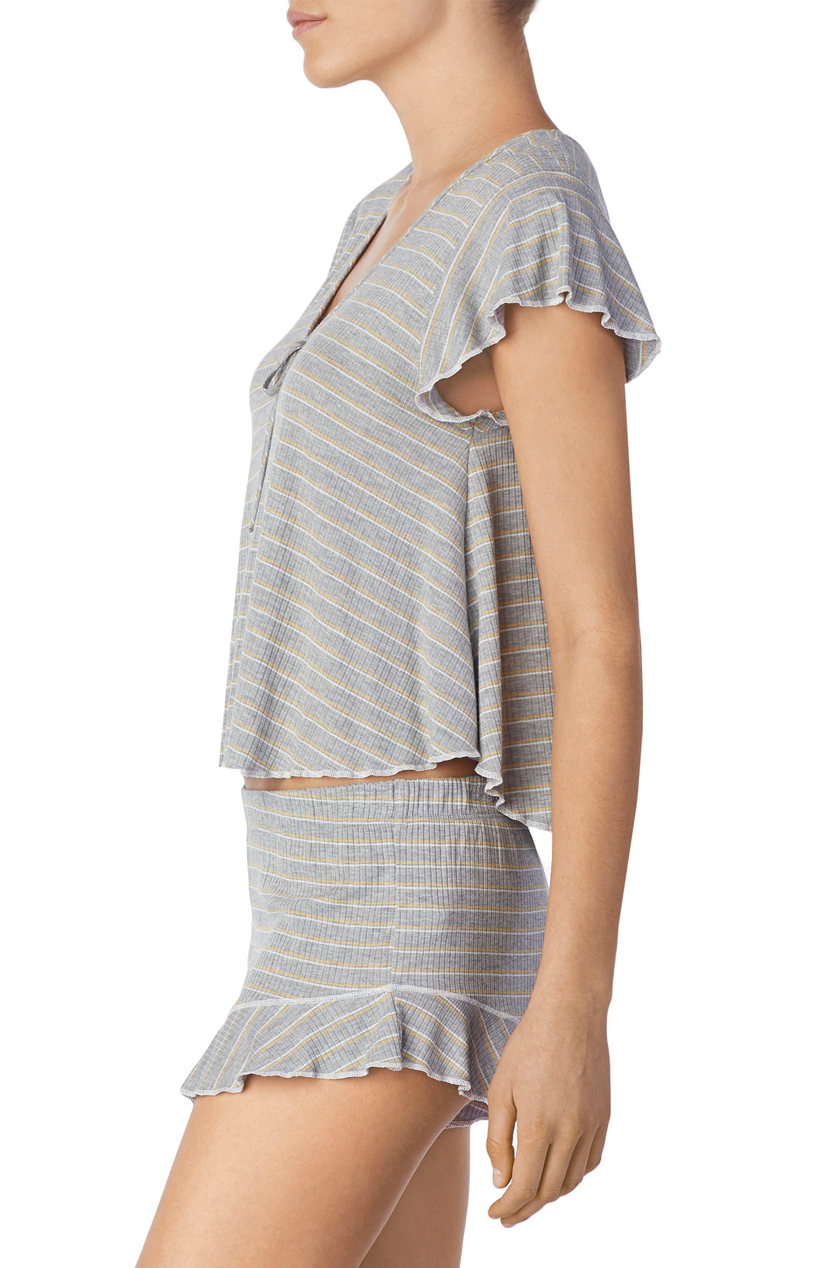 Stripe Short Pajamas,                             Alternate thumbnail 3, color,                             Grey Heather