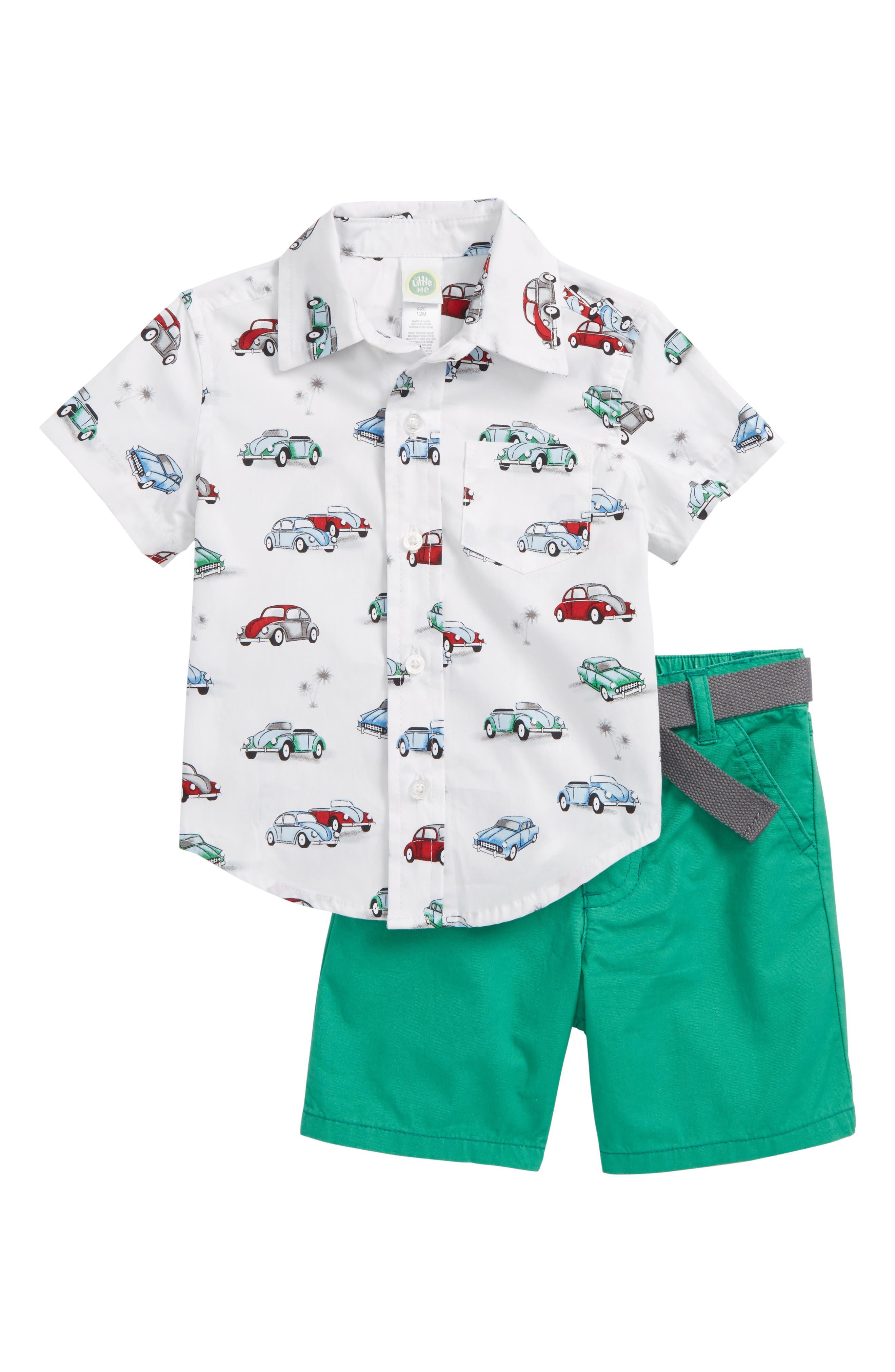 Car Print Woven Shirt & Shorts Set,                         Main,                         color, Green