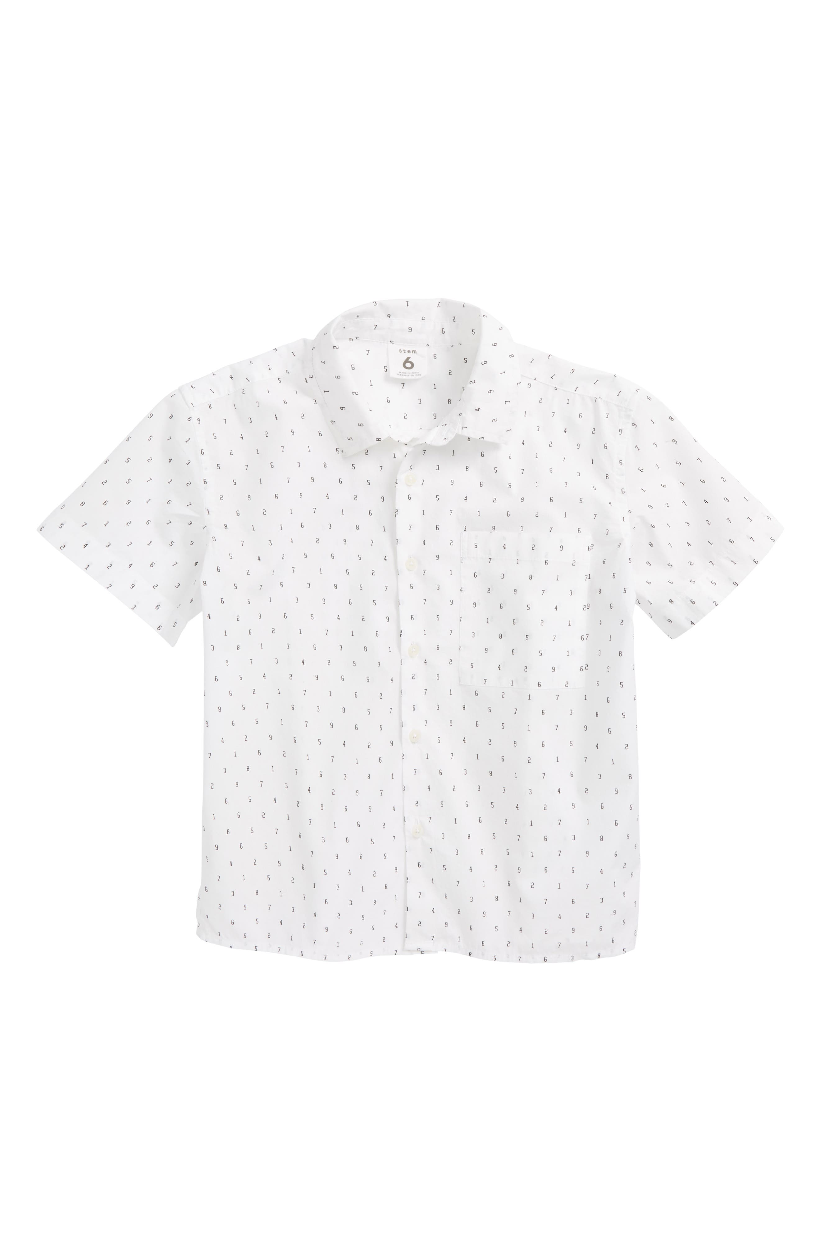Print Woven Shirt,                         Main,                         color, White Typewriter
