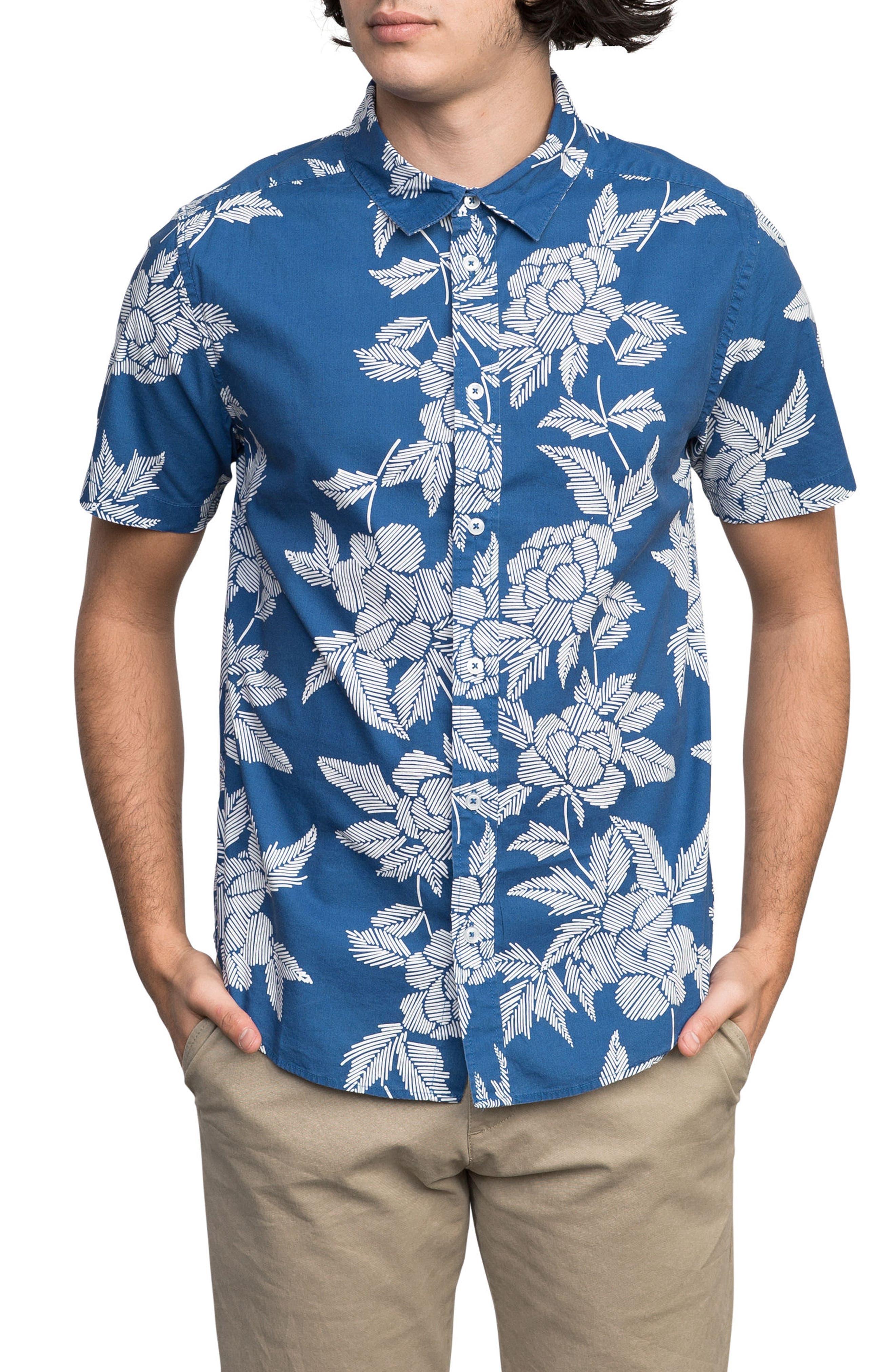 Bora Floral Woven Shirt,                         Main,                         color, Cobalt