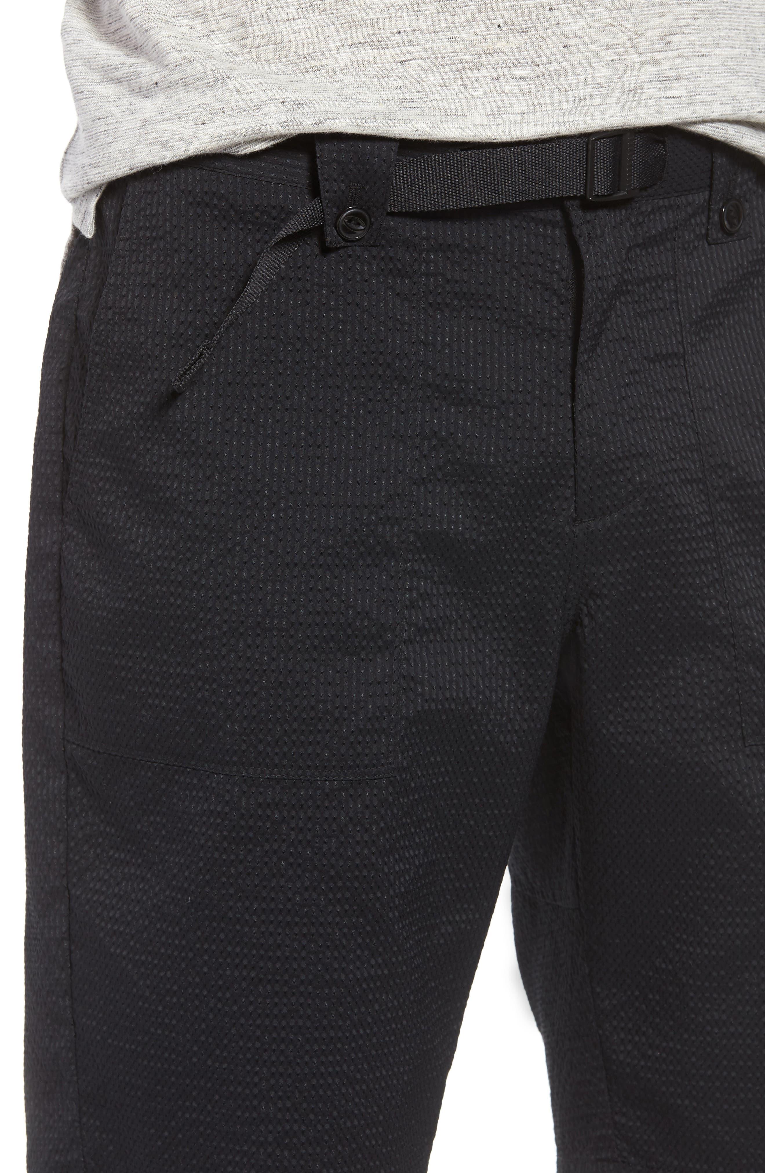 Utility Seersucker Shorts,                             Alternate thumbnail 4, color,                             Black Seersucker