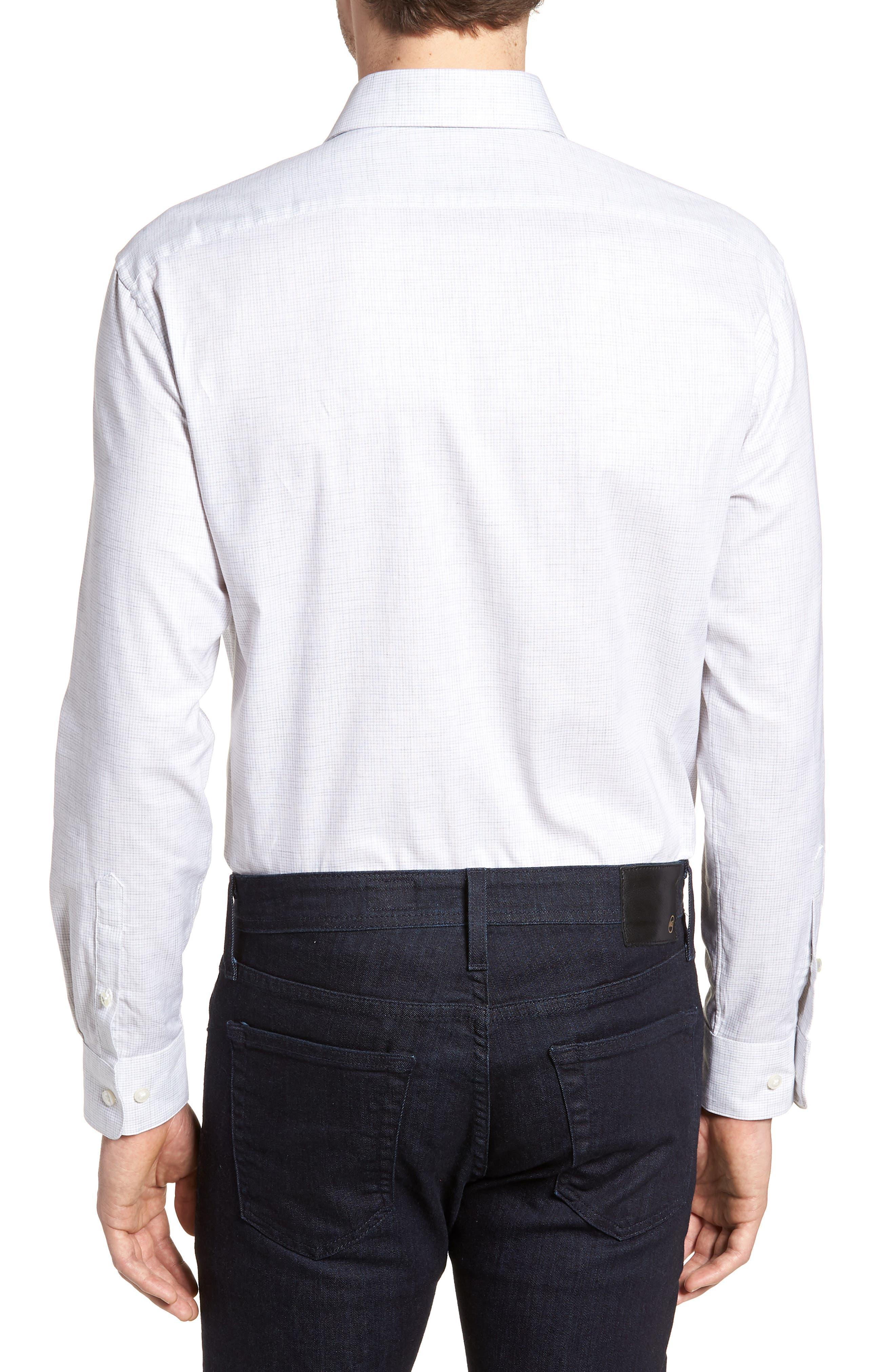 Regular Fit Stretch Check Dress Shirt,                             Alternate thumbnail 3, color,                             Grey