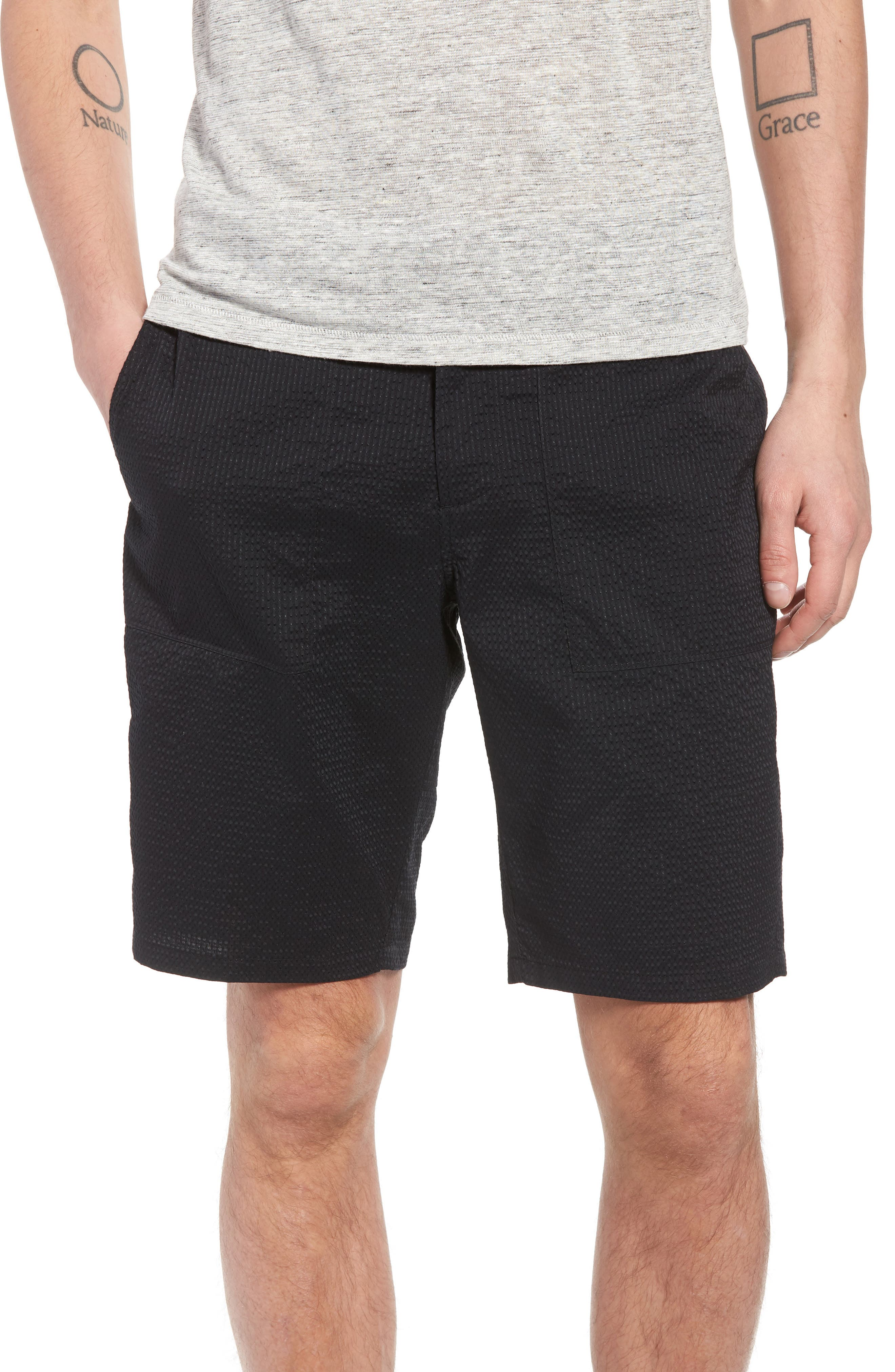 Utility Seersucker Shorts,                             Main thumbnail 1, color,                             Black Seersucker