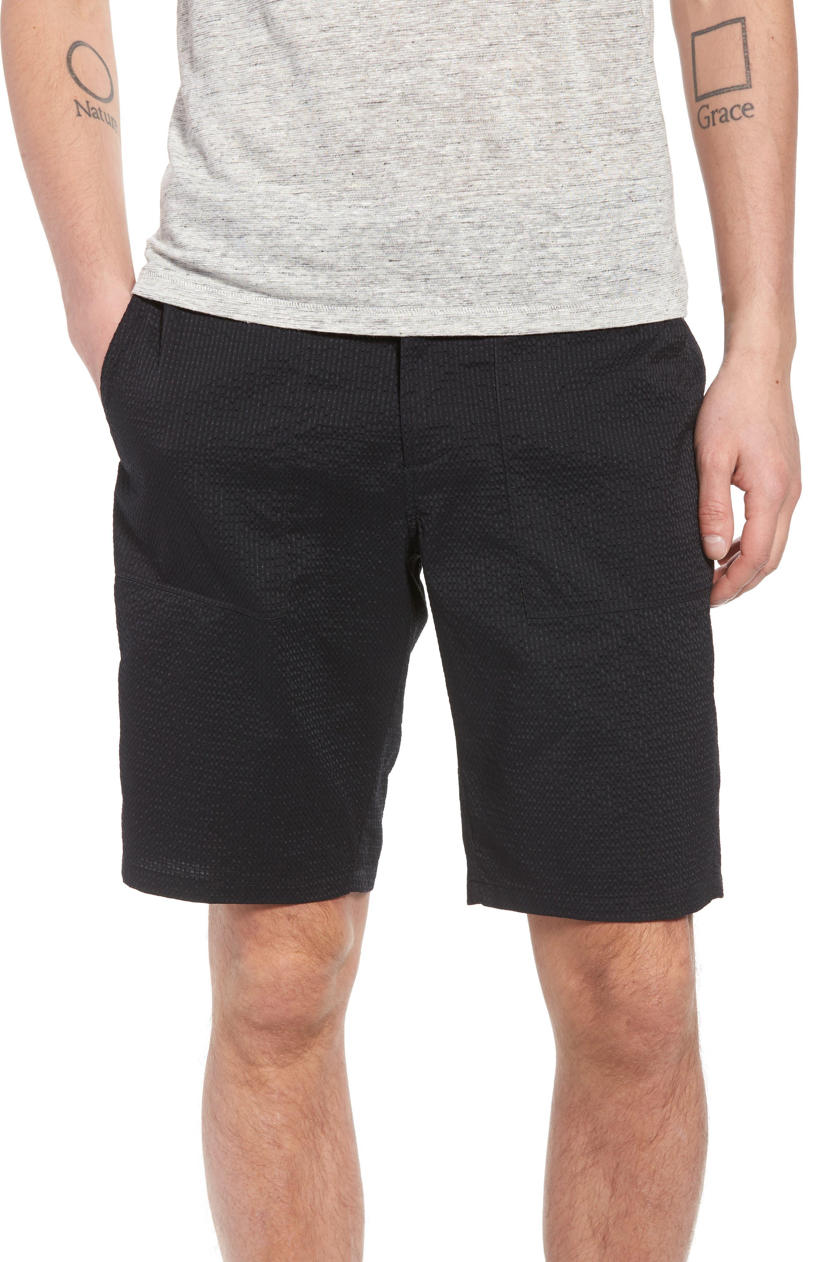 Utility Seersucker Shorts,                         Main,                         color, Black Seersucker