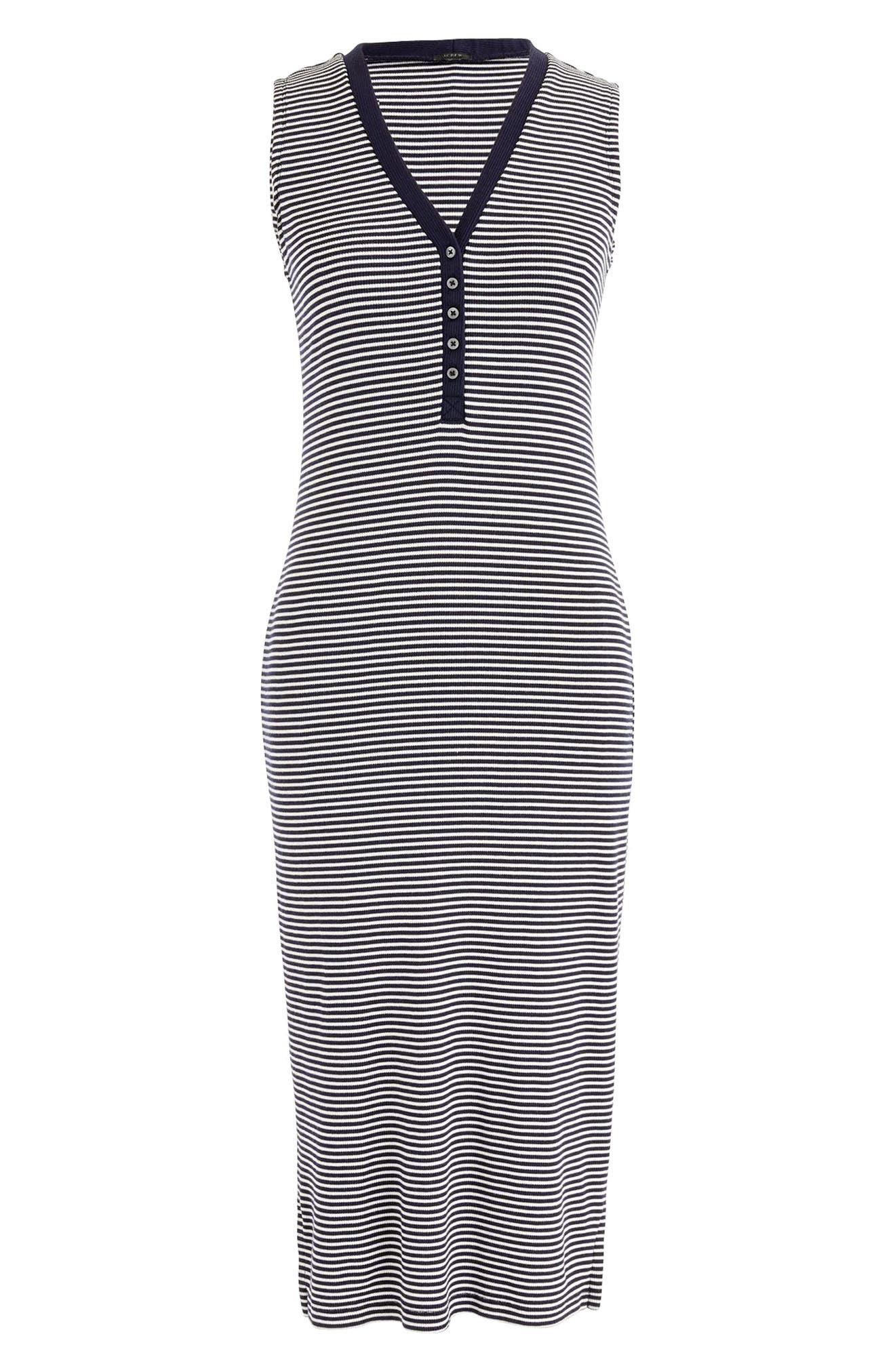Sleeveless Henley Stripe Midi Dress,                             Alternate thumbnail 3, color,                             Navy Ivory