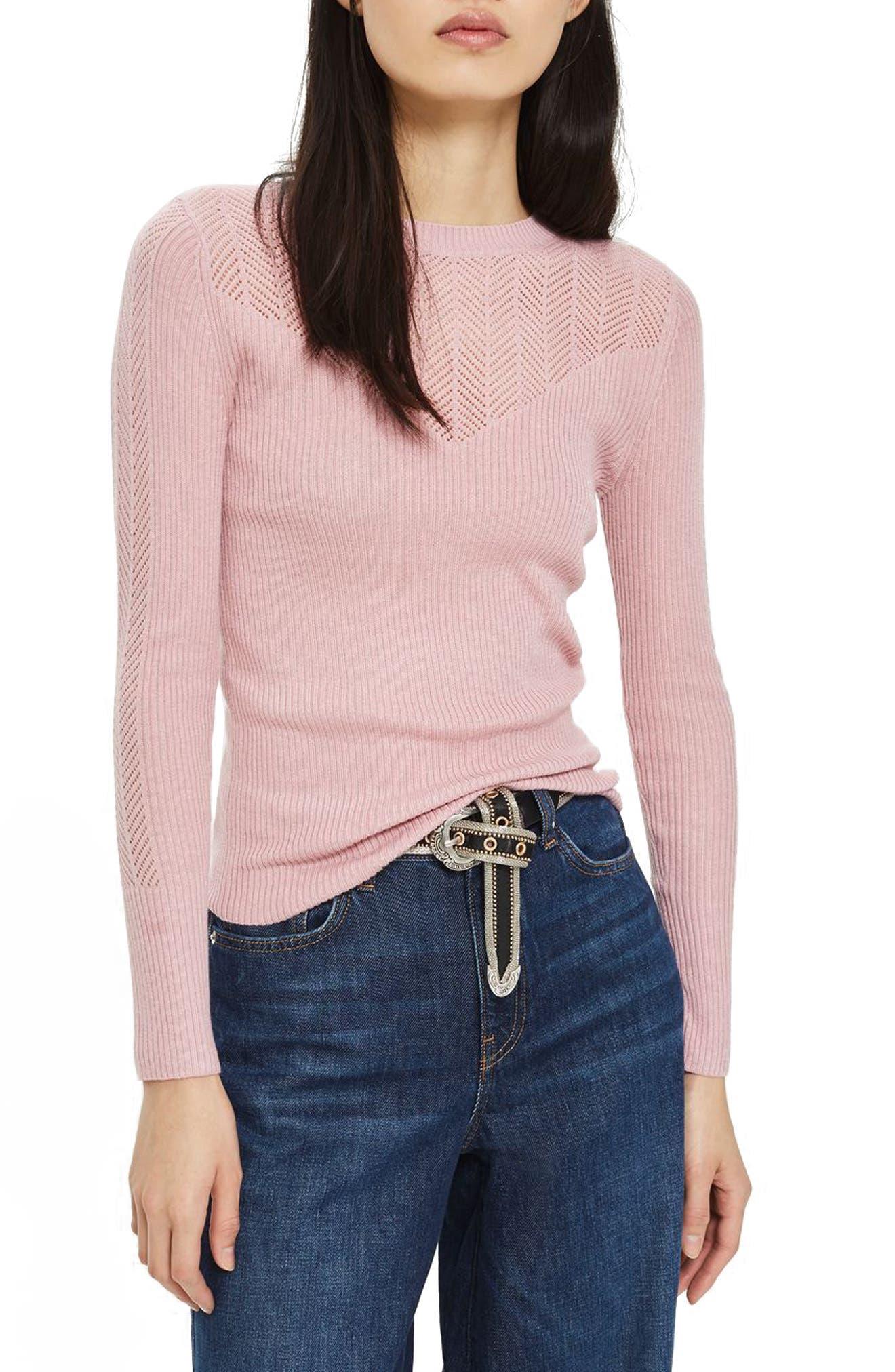 Topshop Petite Pointelle Yoke Sweater
