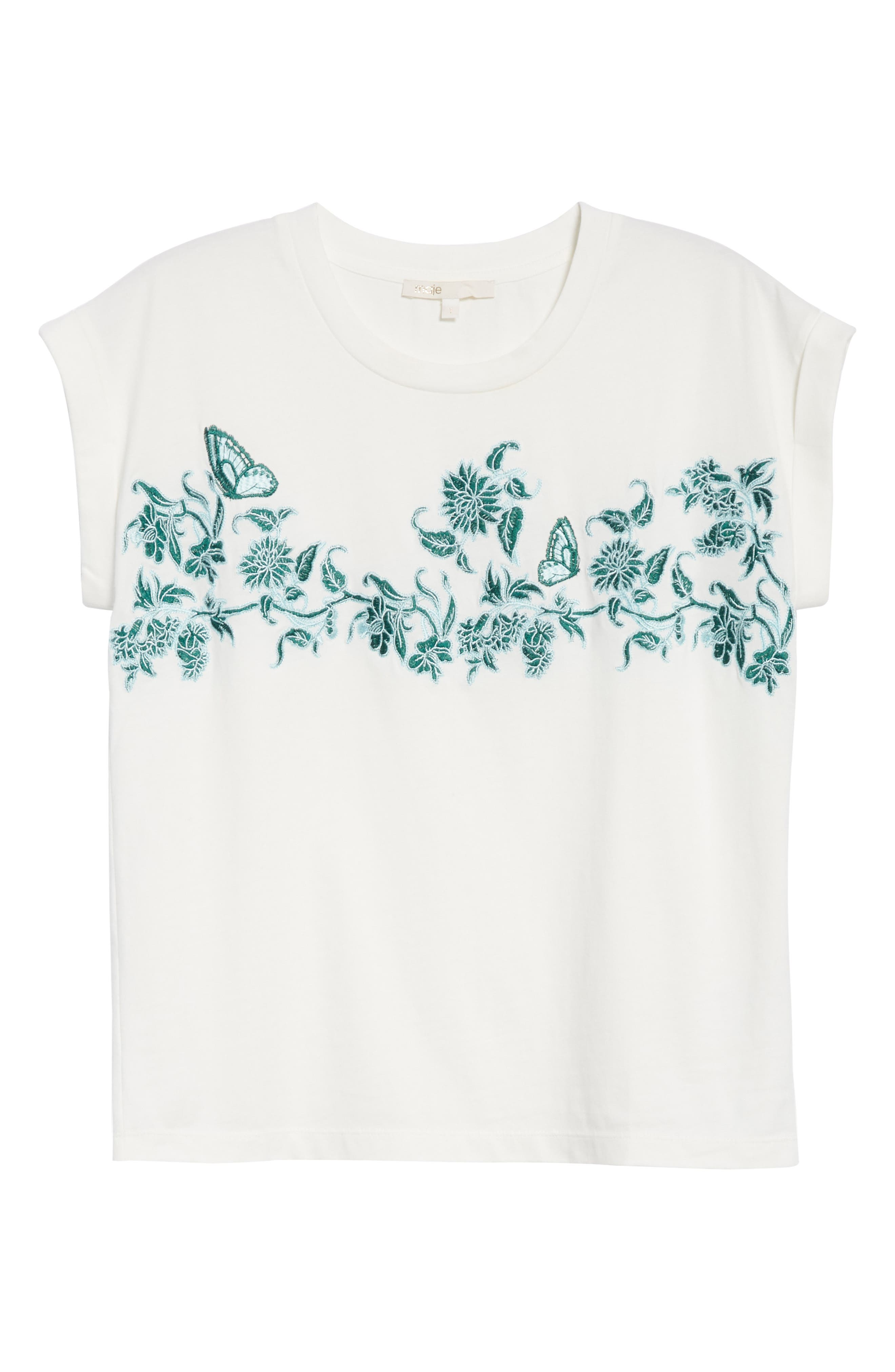 Floral Embroidered Tee,                             Alternate thumbnail 6, color,                             Ecru