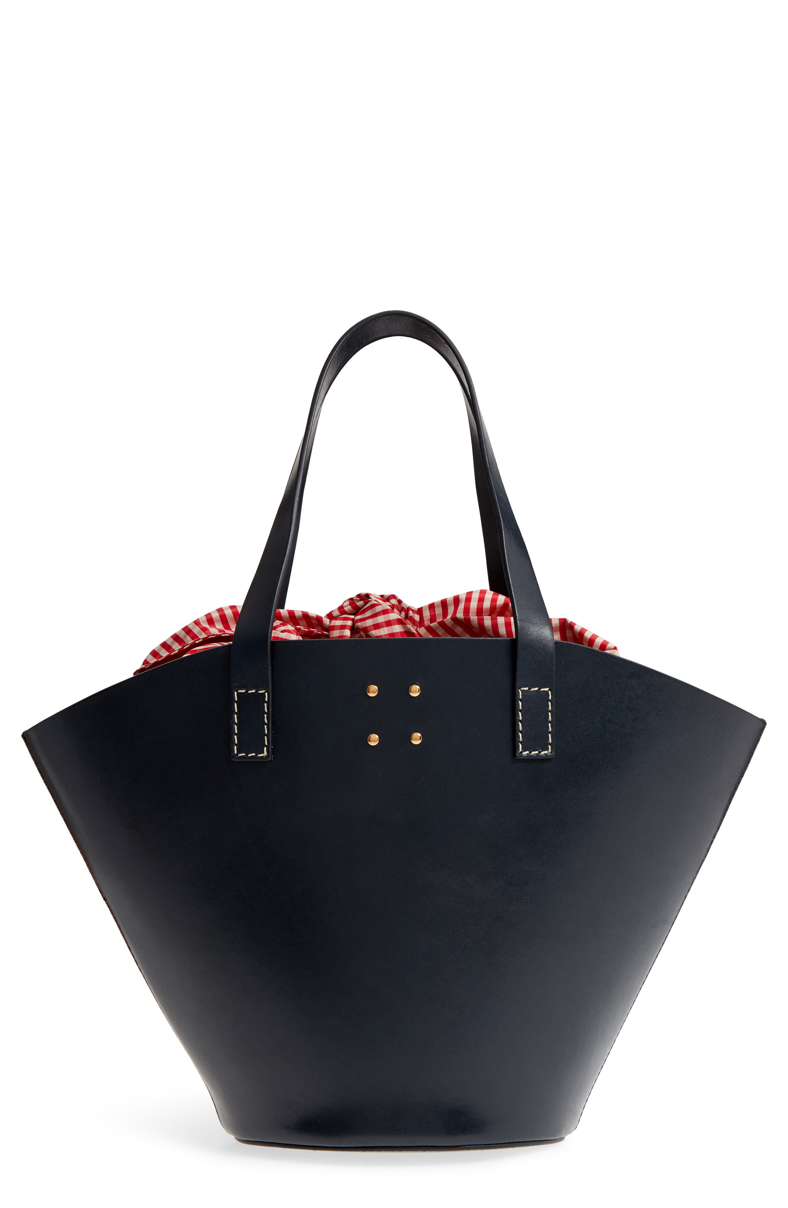Large Leather Bucket Bag,                             Main thumbnail 1, color,                             Dark Navy
