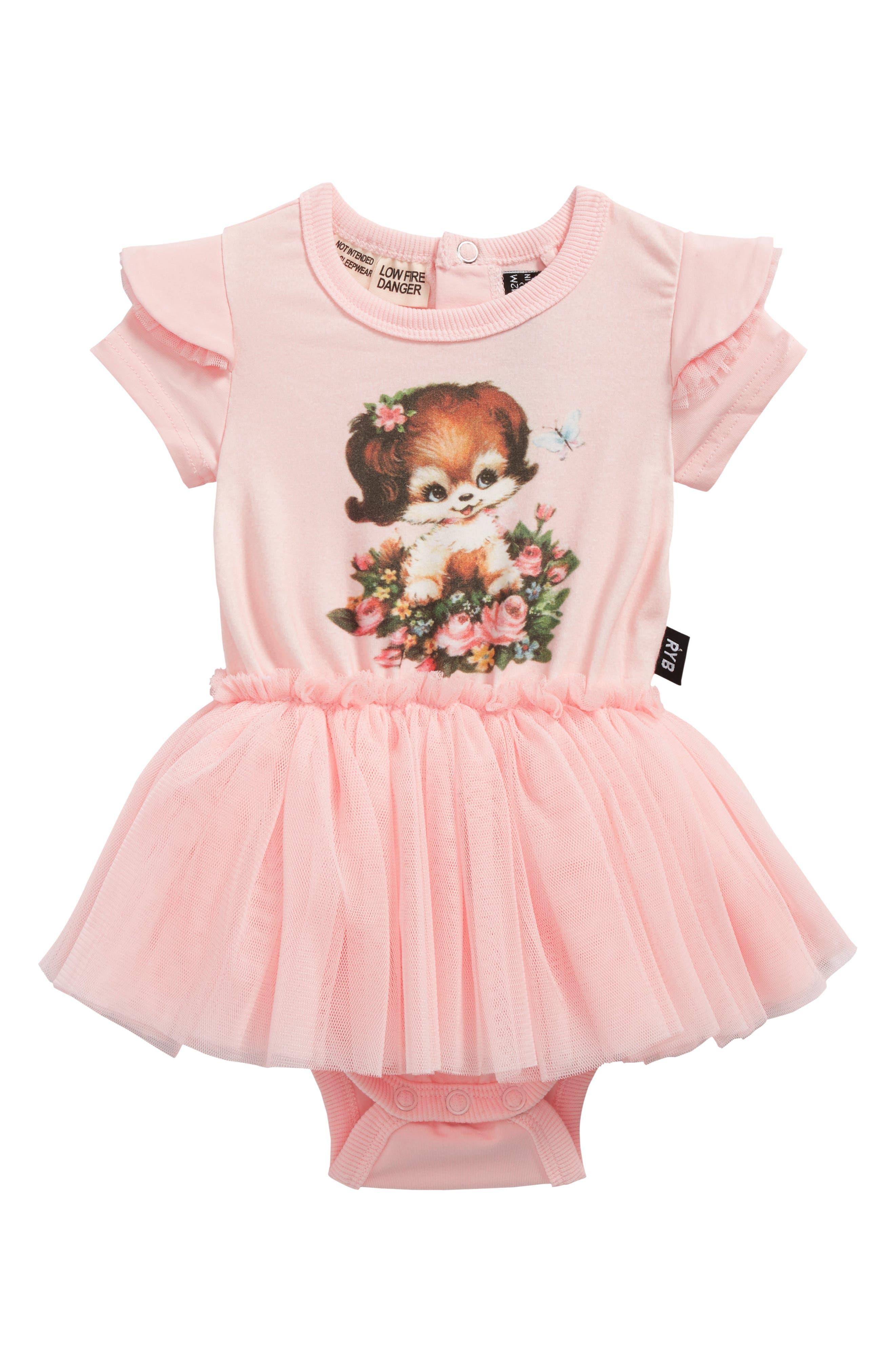 Puppy Love Circus Bodysuit Dress,                             Main thumbnail 1, color,                             Pink