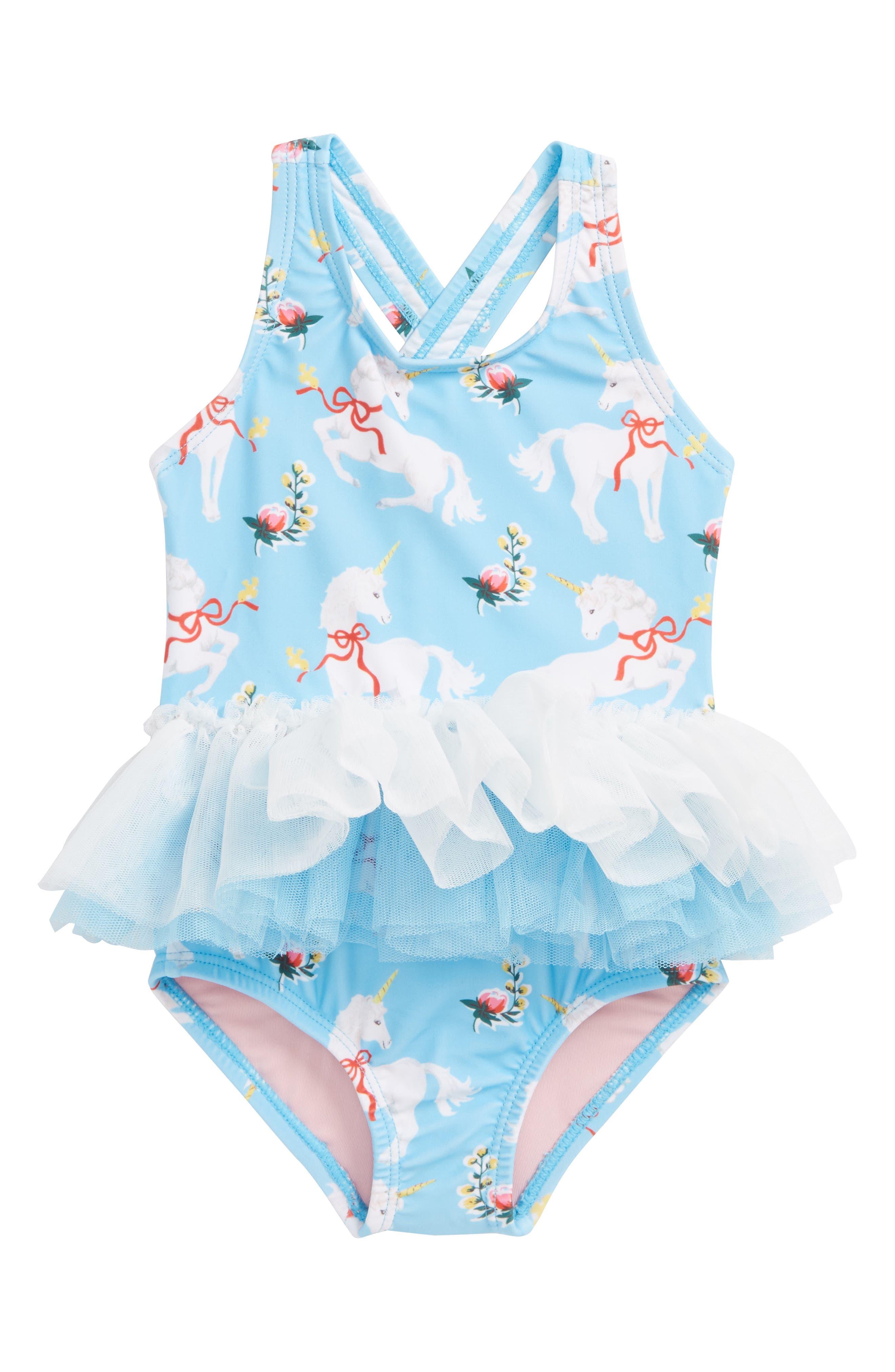 White Unicorns Tulle One-Piece Swimsuit,                         Main,                         color, Blue