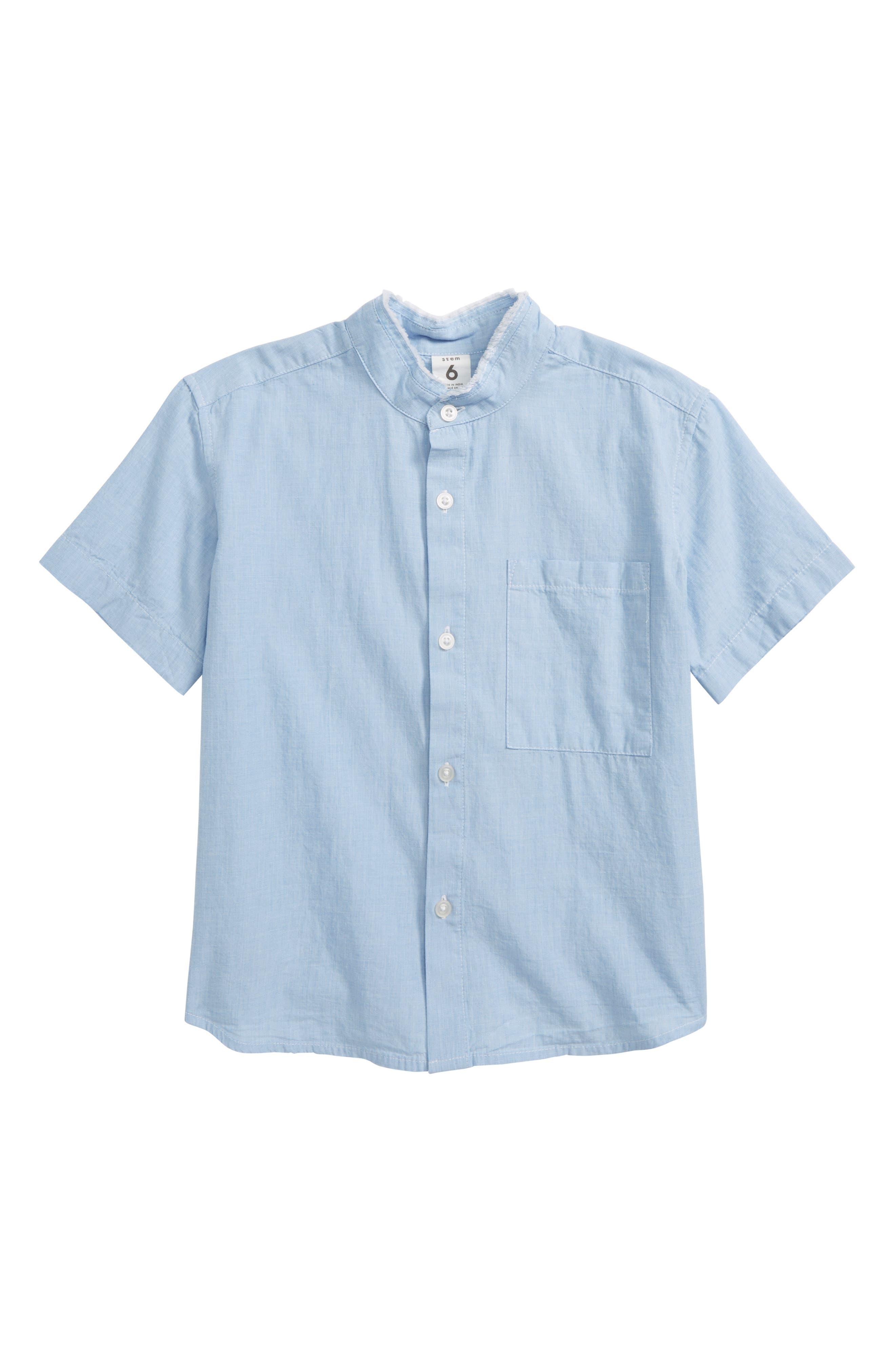 Collarless Shirt,                         Main,                         color, Blue Chambray Grid