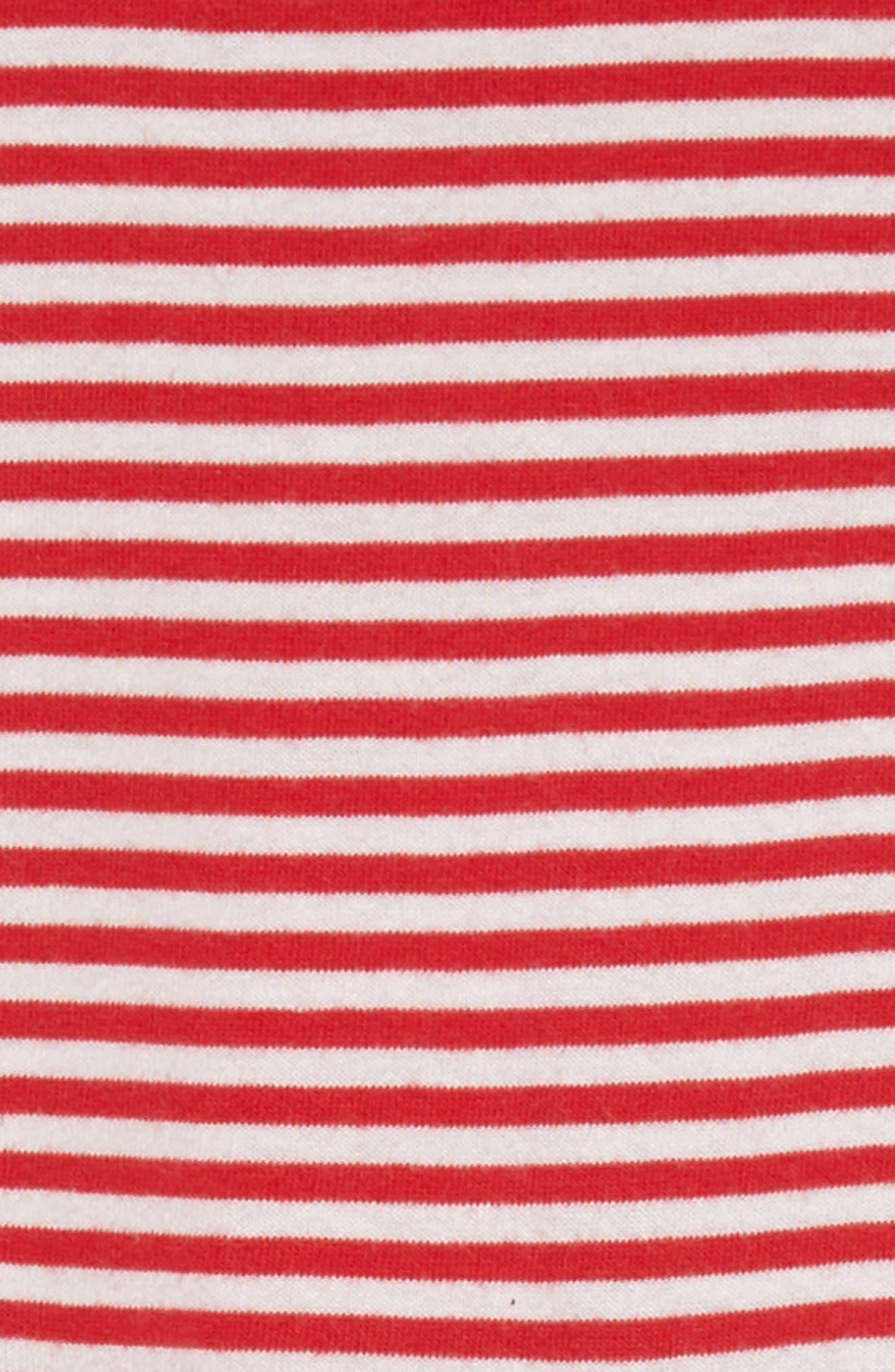 Stripe Jersey Dress,                             Alternate thumbnail 3, color,                             Circus Red/ Ecru
