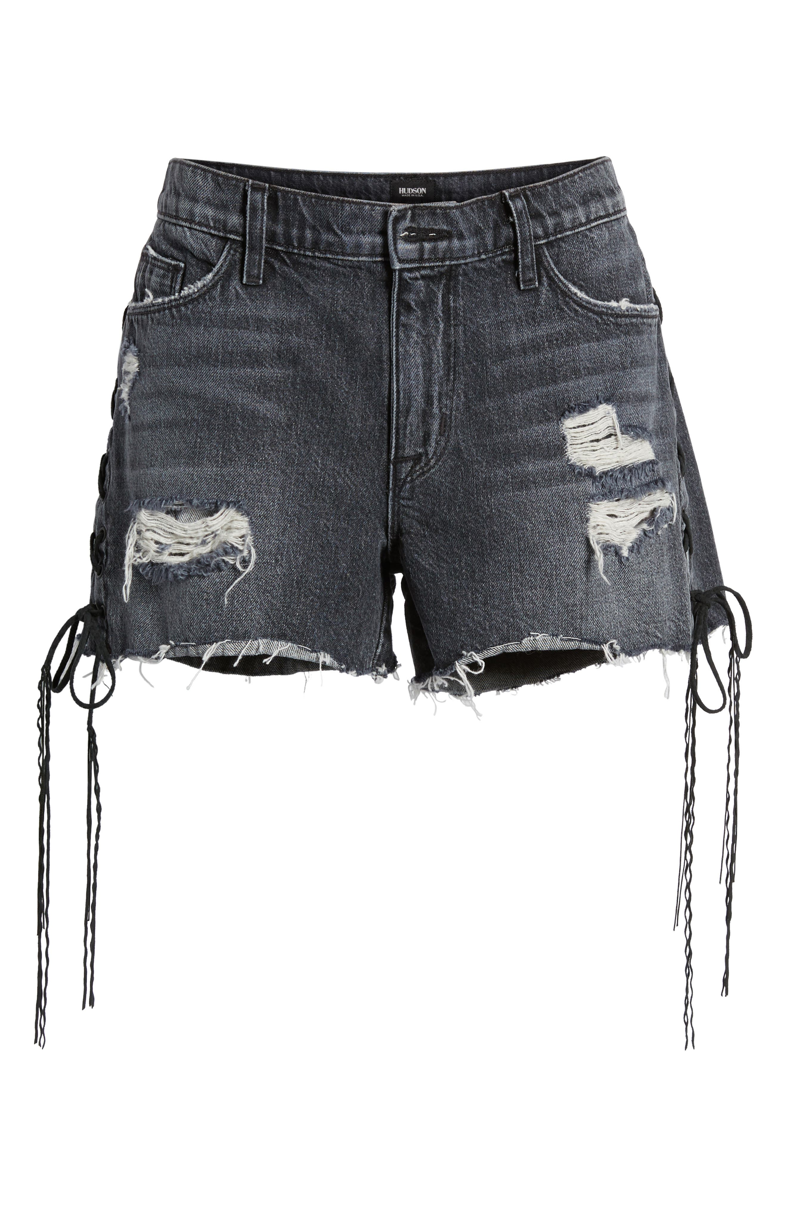 Sade Lace-Up Cutoff Denim Shorts,                             Alternate thumbnail 6, color,                             Mercury