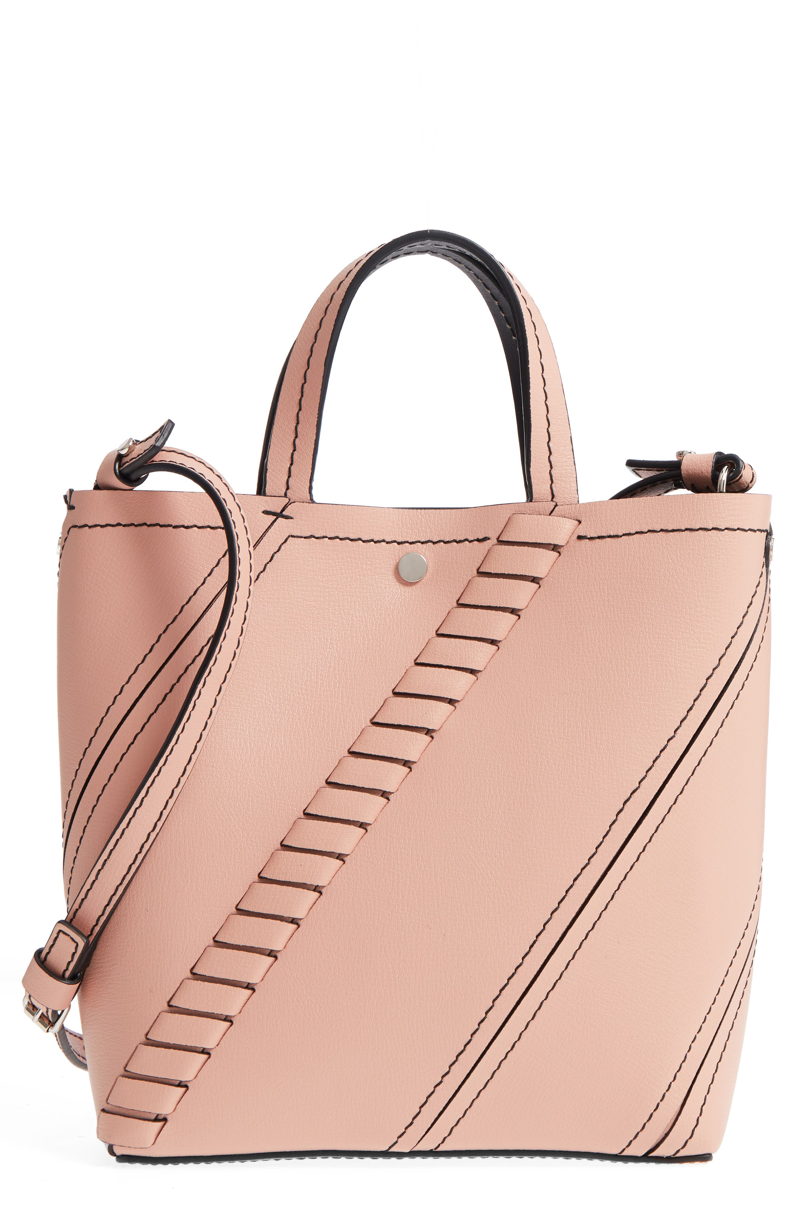 MINI HEX WHIPSTITCH CALFSKIN LEATHER TOTE - PINK