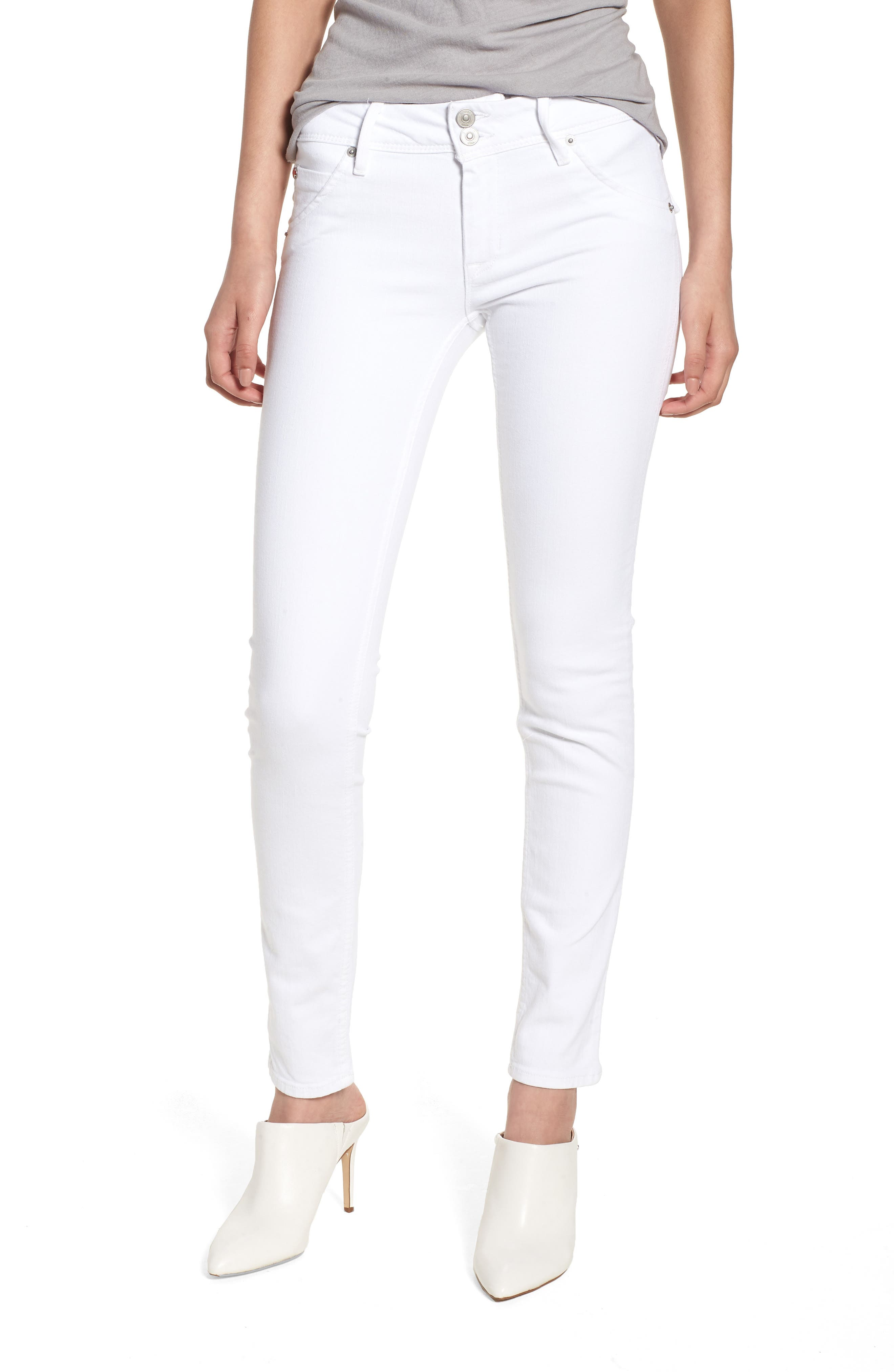 Main Image - Hudson Jeans Collin Skinny Jeans (Optical White)