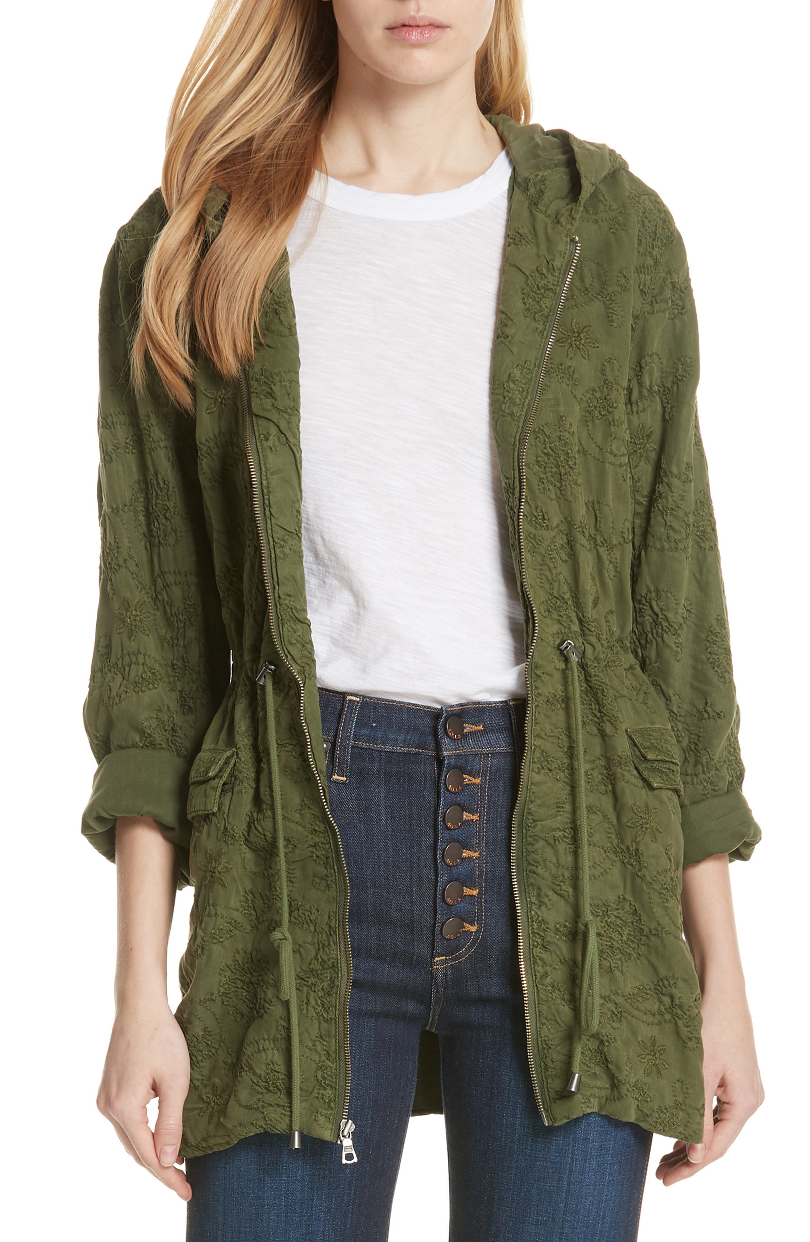Marna Embroidered Hooded Parka,                         Main,                         color, Olive