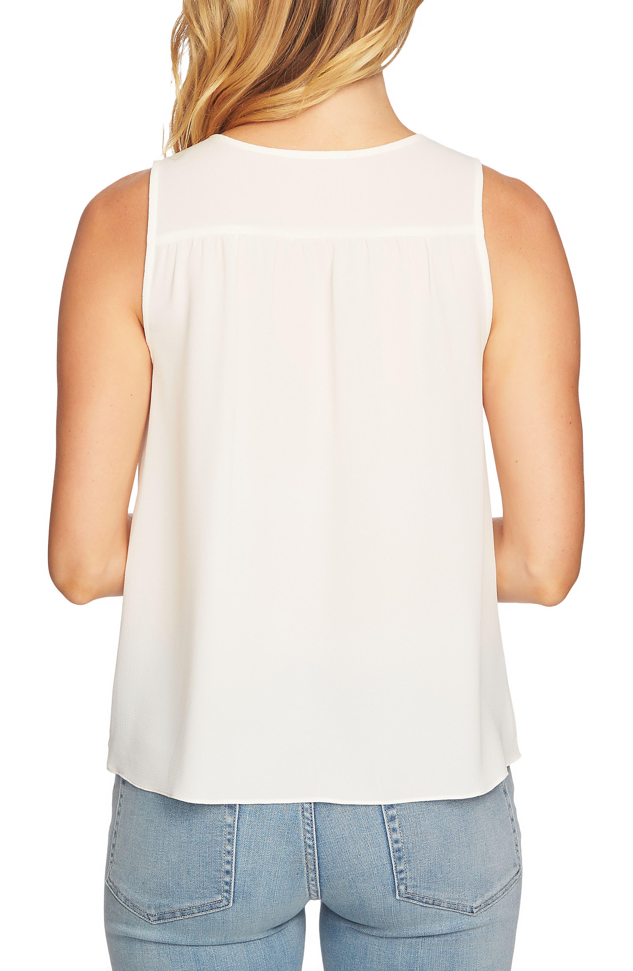 Sleeveless Tie Front Blouse,                             Alternate thumbnail 2, color,                             Antique White