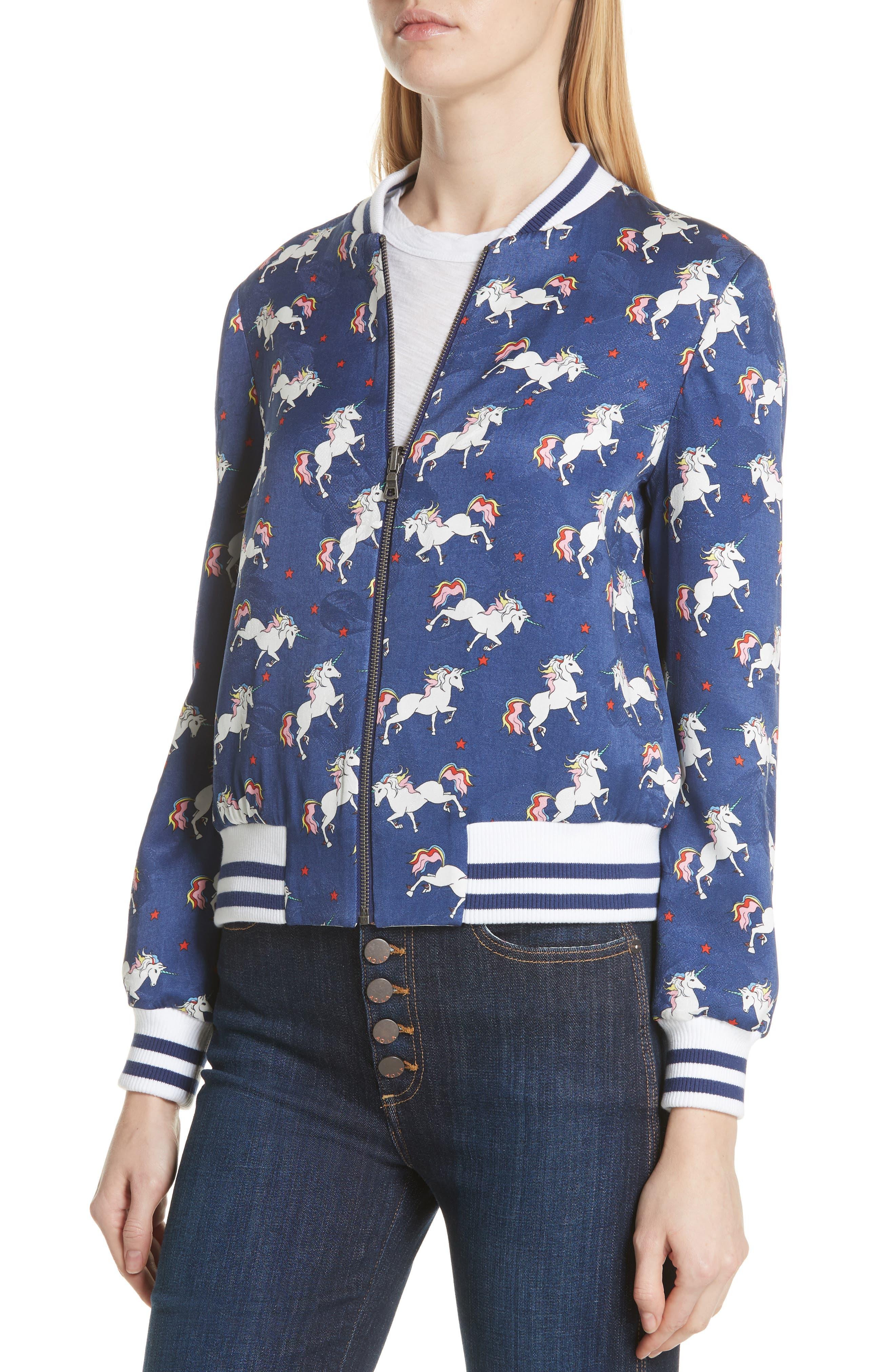 Lonnie Reversible Bomber Jacket,                             Alternate thumbnail 2, color,                             Unicorn/ Oasis Stripe