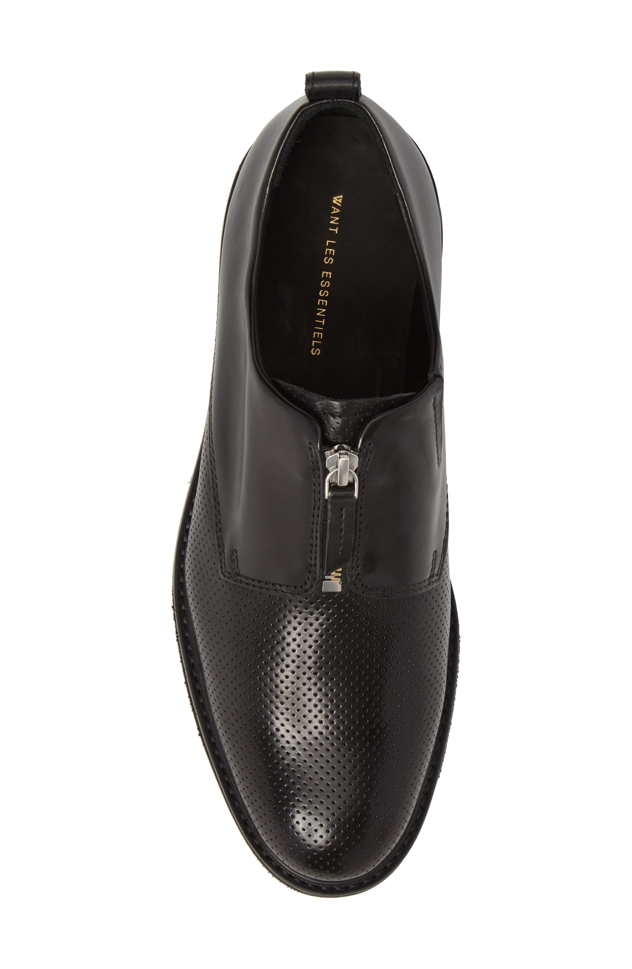 Zipped Derby Shoe,                             Alternate thumbnail 5, color,                             Multi Perforated Black/ Black